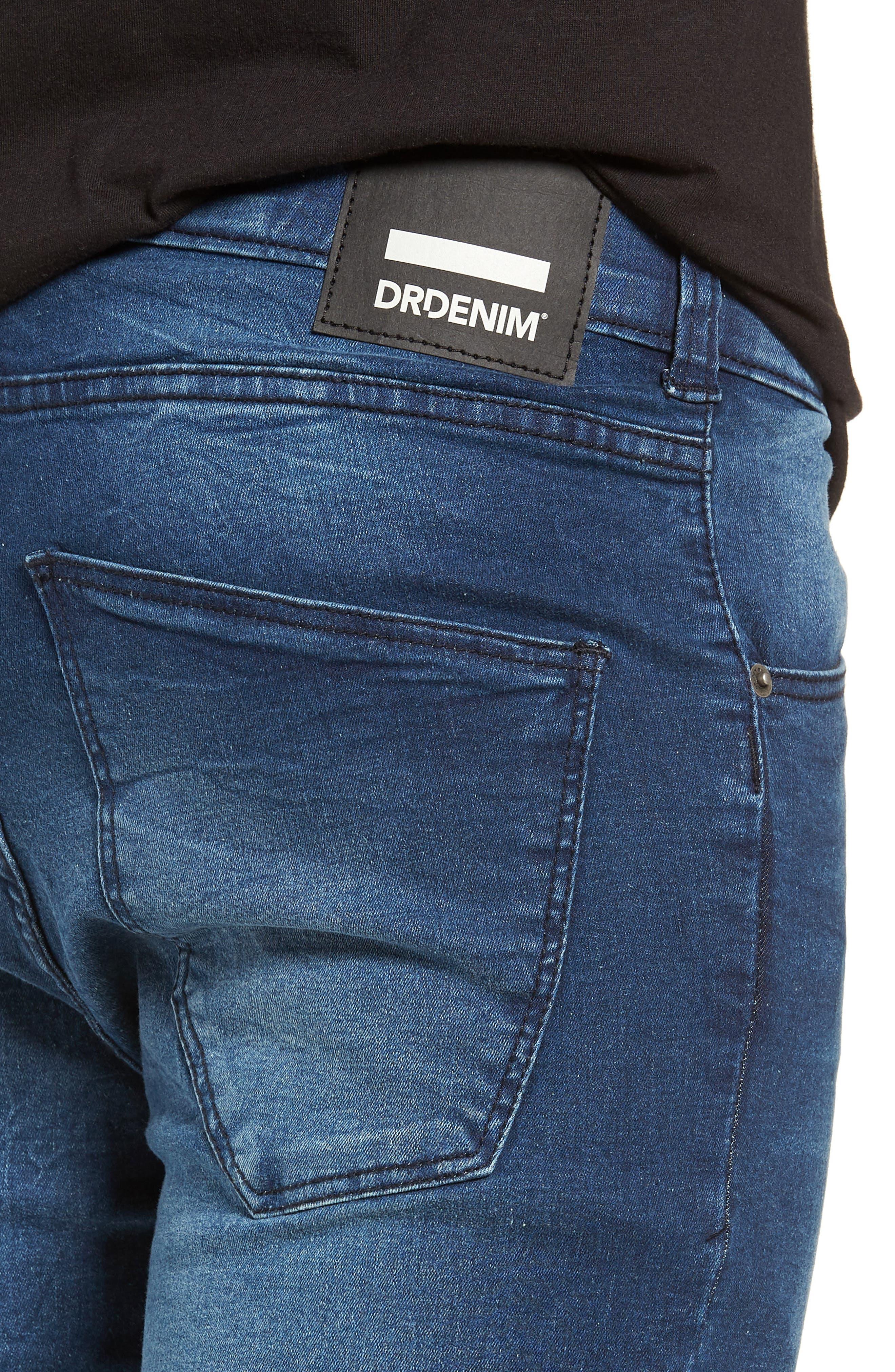 Leroy Skinny Fit Jeans,                             Alternate thumbnail 4, color,                             WORN DARK BLUE