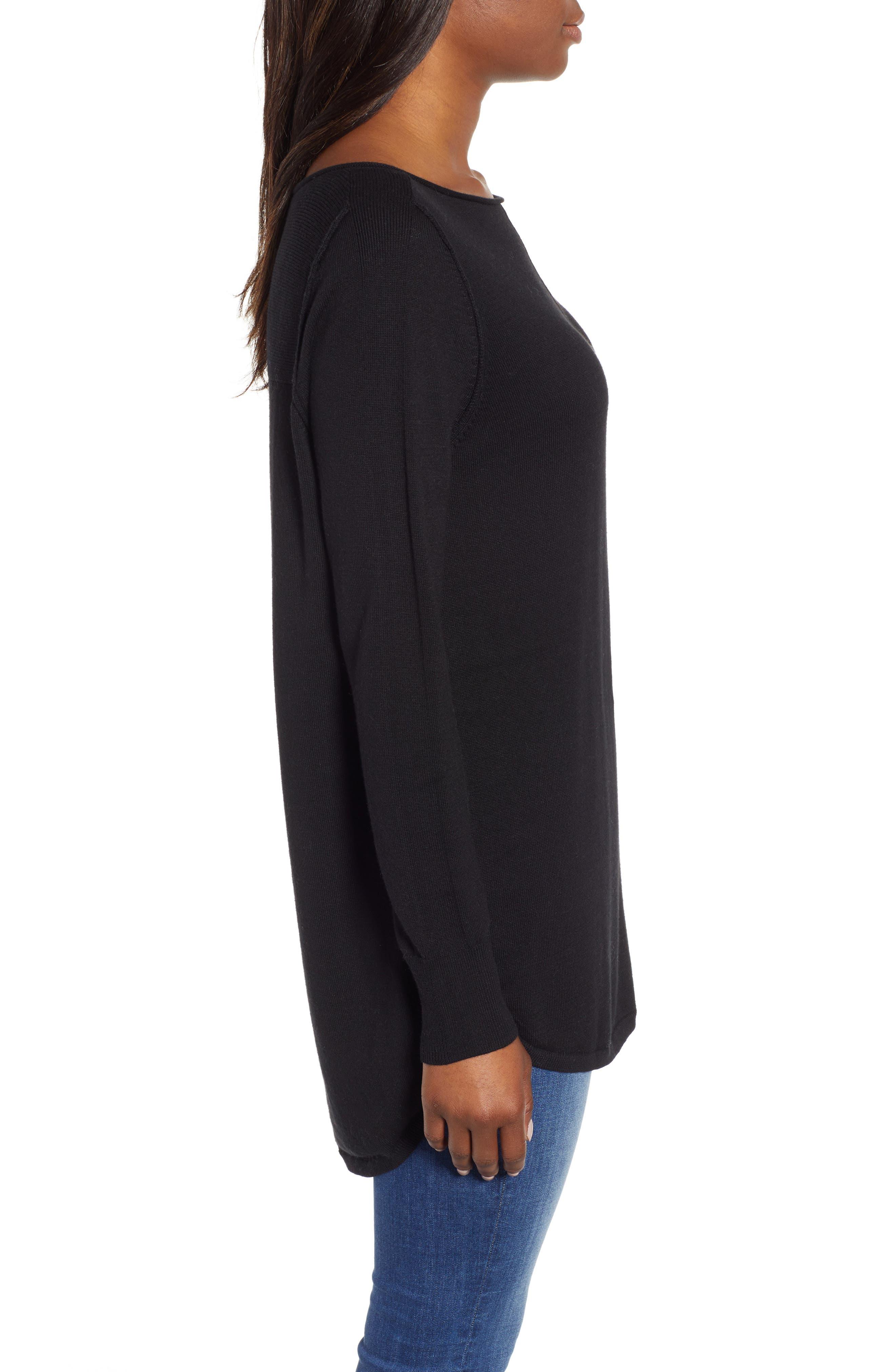 Seam Detail Shirttail Tunic,                             Alternate thumbnail 3, color,                             BLACK