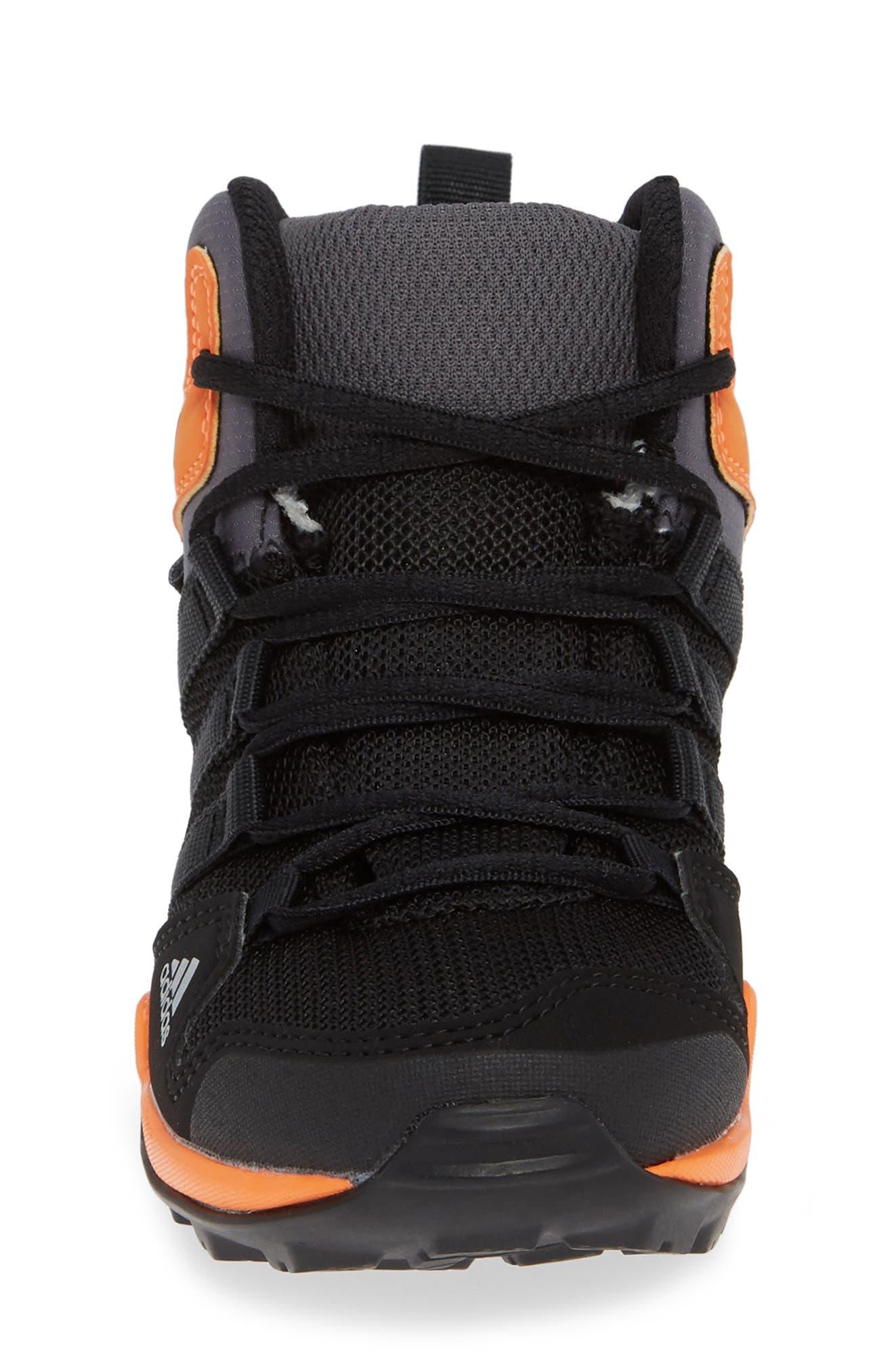 Terrex AX2R Mid Sneaker,                             Alternate thumbnail 4, color,                             BLACK/ BLACK/ HI-RES ORANGE
