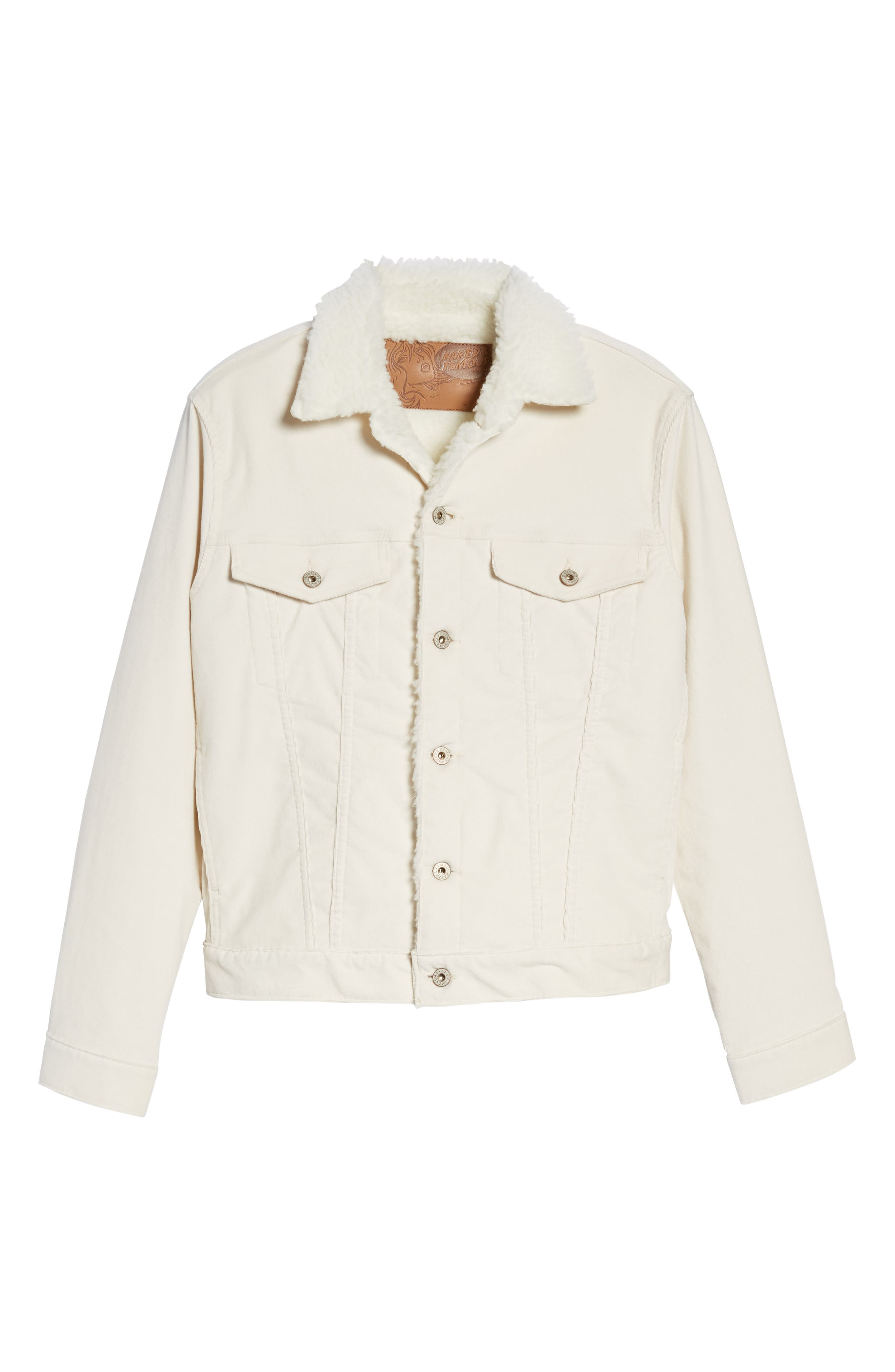 Faux Shearling Lined Denim Jacket,                             Alternate thumbnail 5, color,                             100