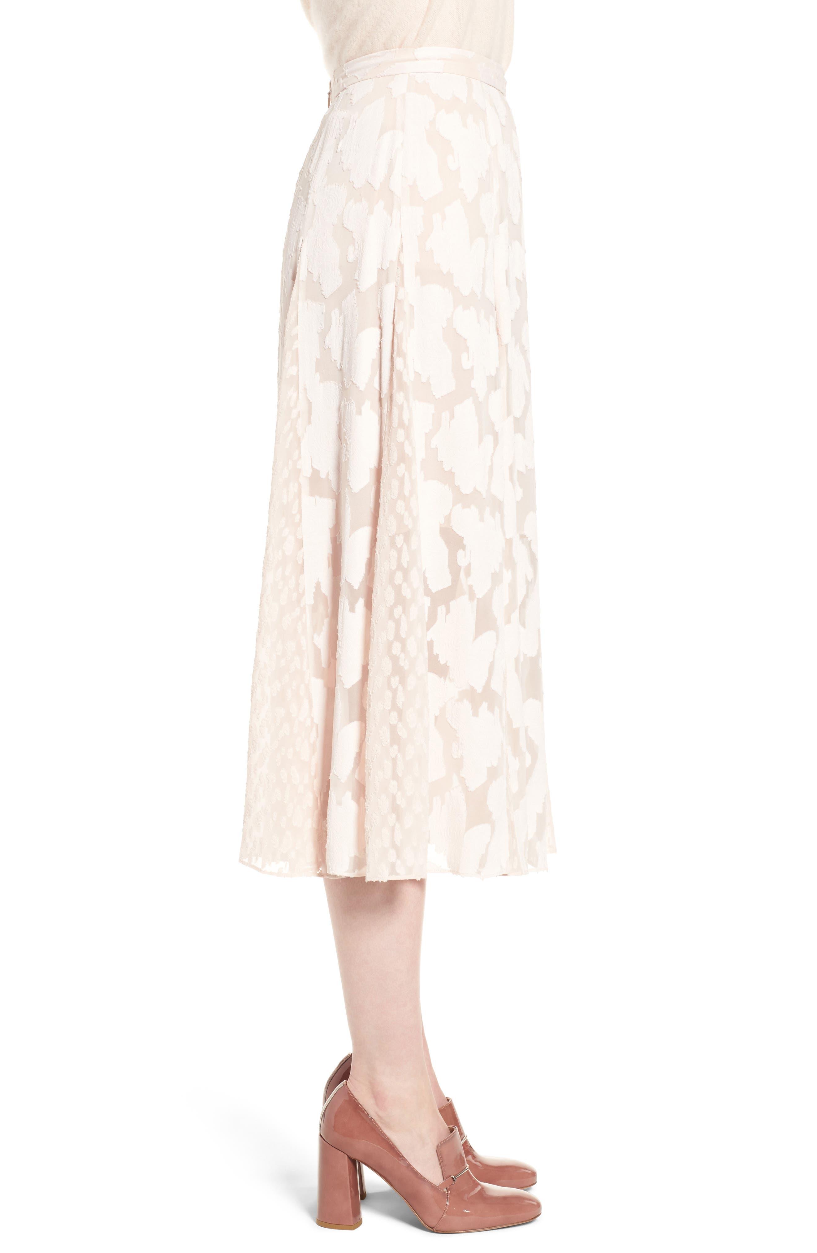 Clip Jacquard Godet Skirt,                             Alternate thumbnail 6, color,