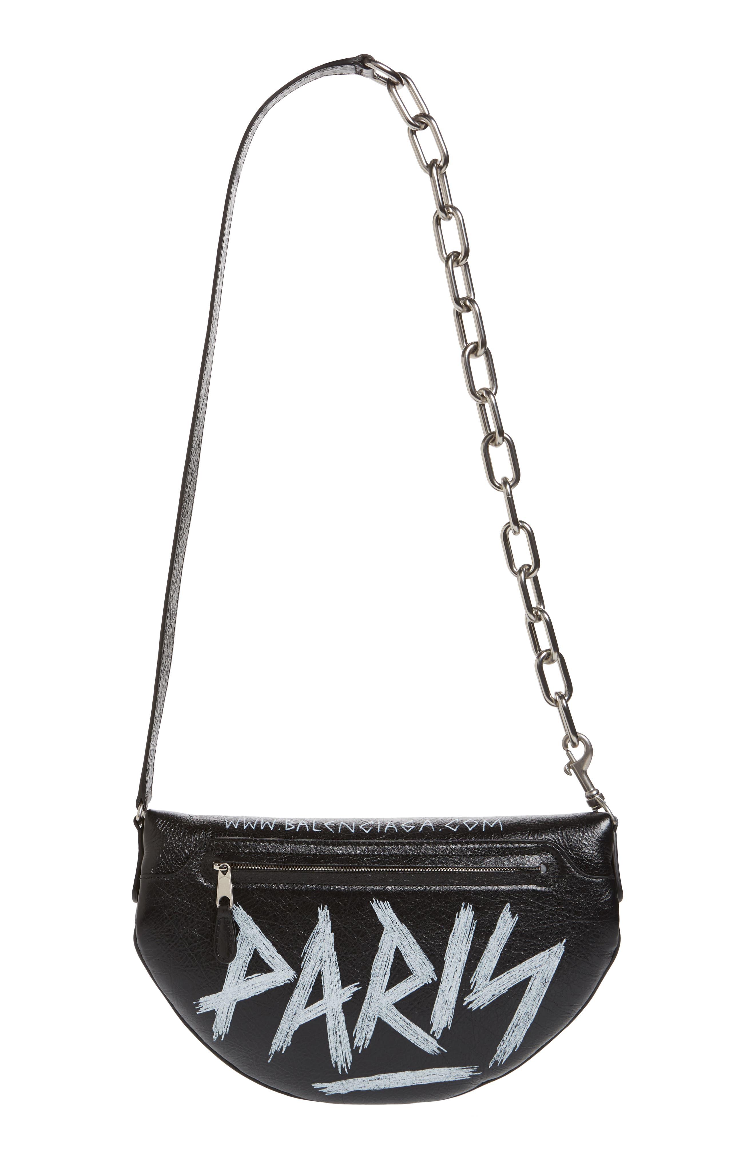 Graffiti Souvenir Leather Belt Bag,                             Alternate thumbnail 4, color,                             NOIR/ BLANC