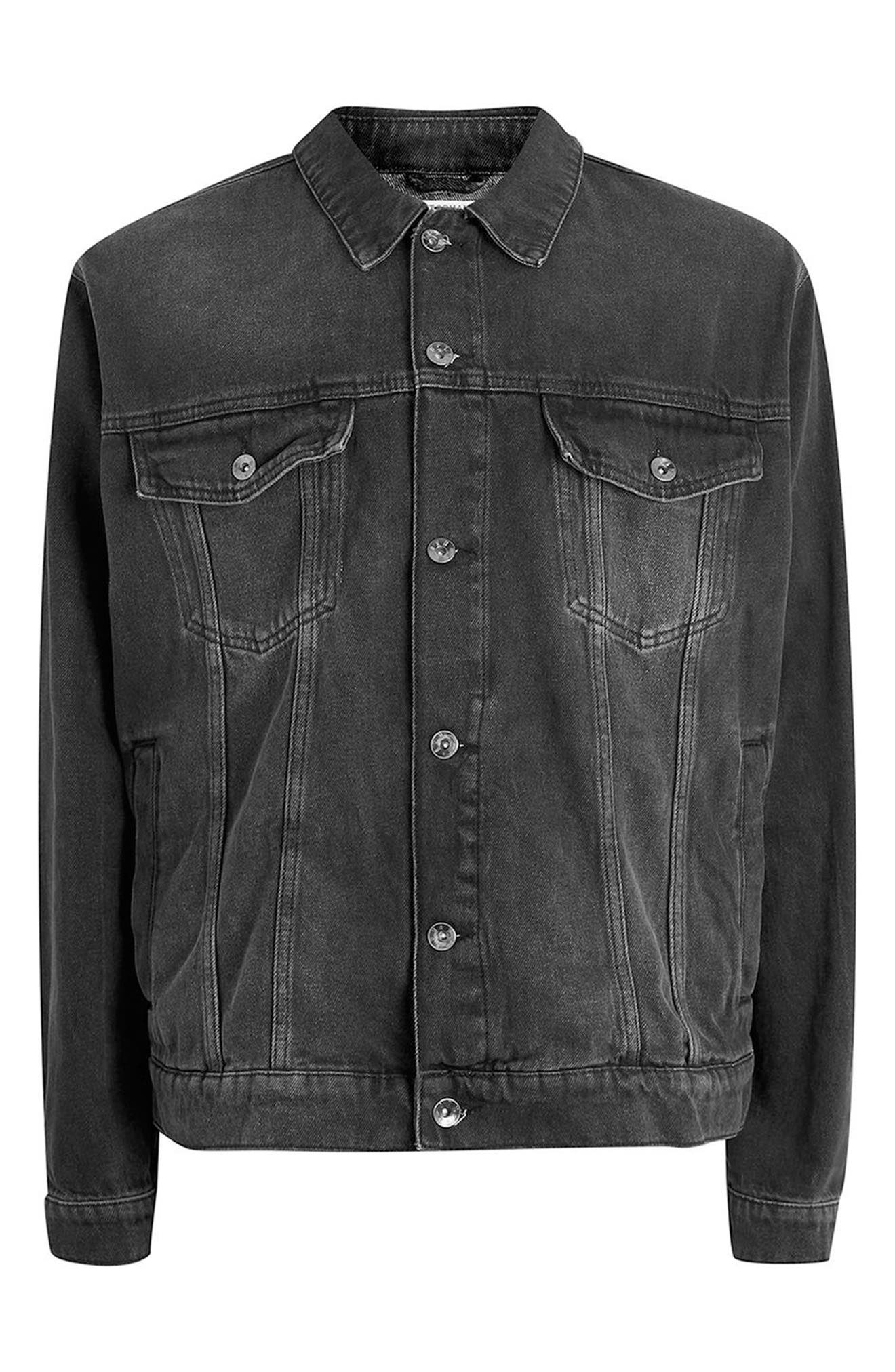 Oversize Black Denim Jacket,                             Alternate thumbnail 4, color,                             001