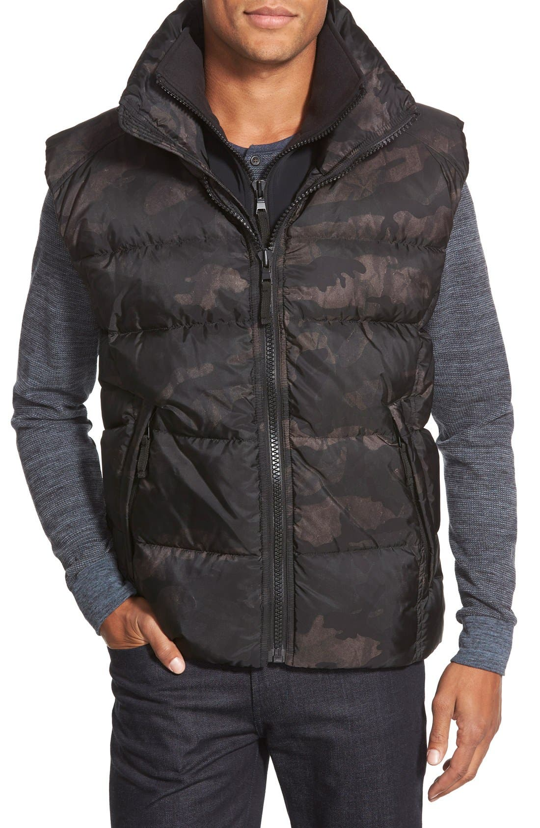 'Racer' Camo Print Down Vest, Main, color, 315