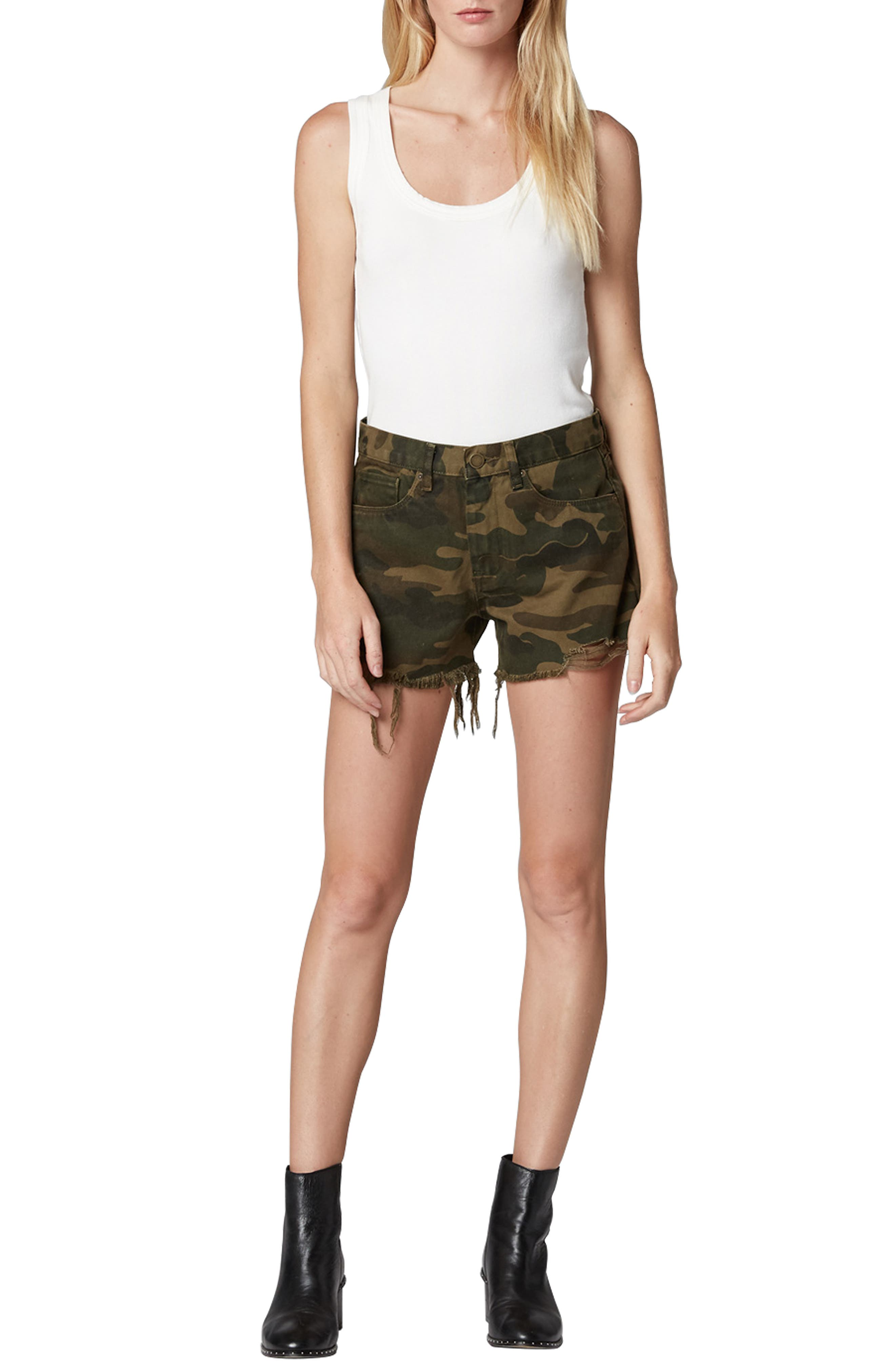 Cutoff Camo Shorts,                             Alternate thumbnail 4, color,                             ARMY OF ONE