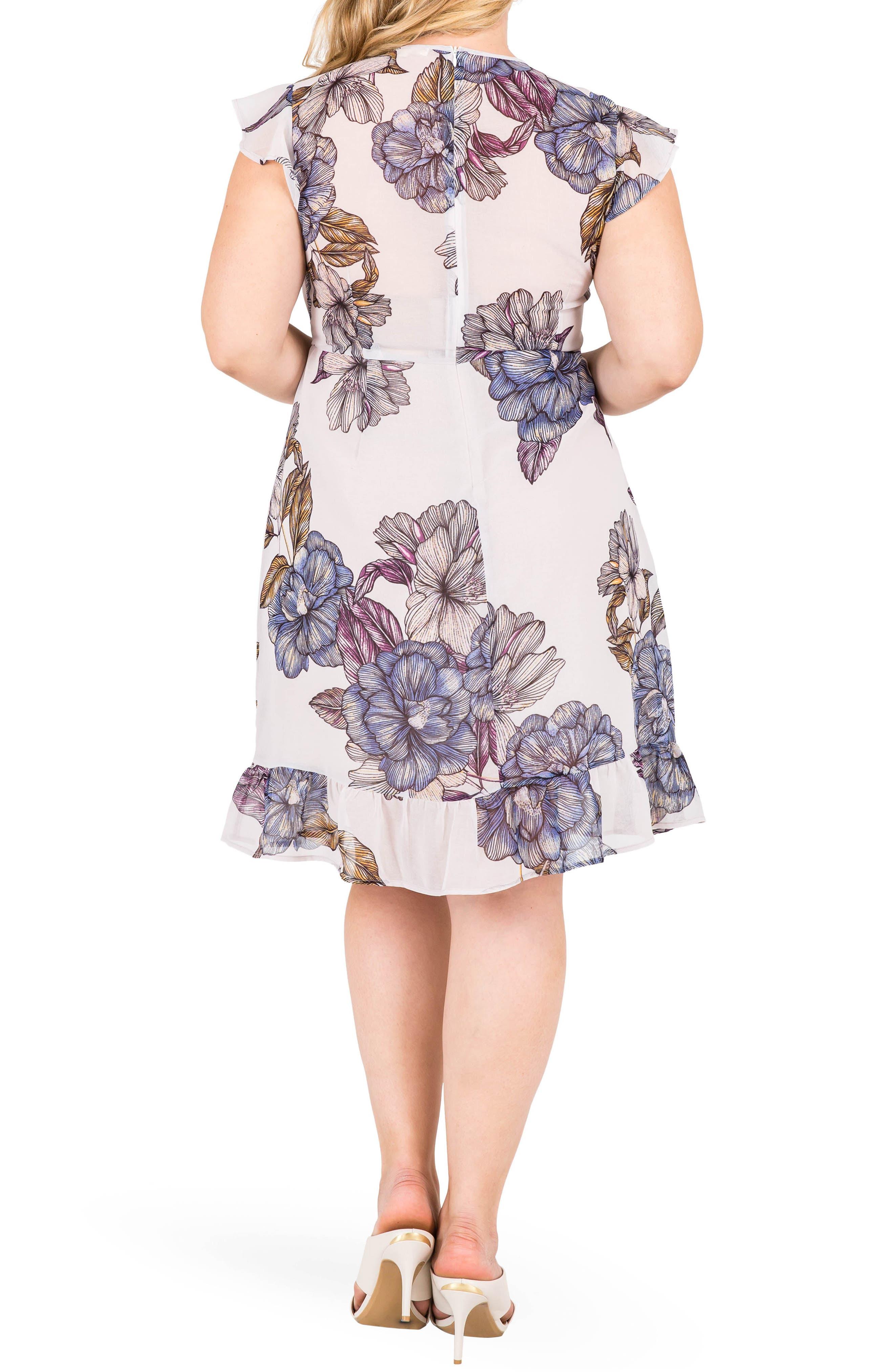 Dion Floral A-Line Dress,                             Alternate thumbnail 2, color,                             LIGHT GRAY FLORAL PRINT