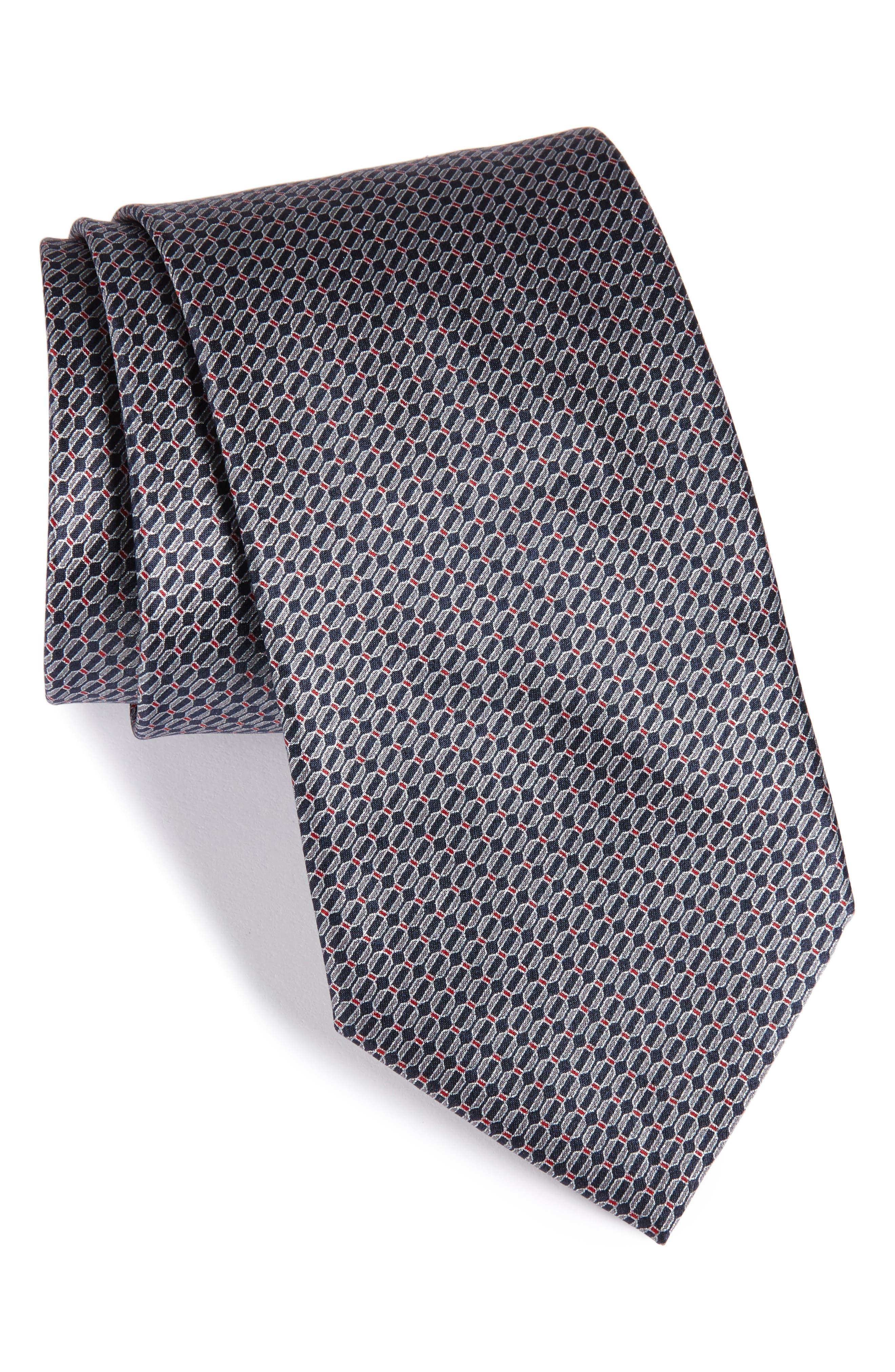 Geometric Silk Tie,                         Main,                         color, 406