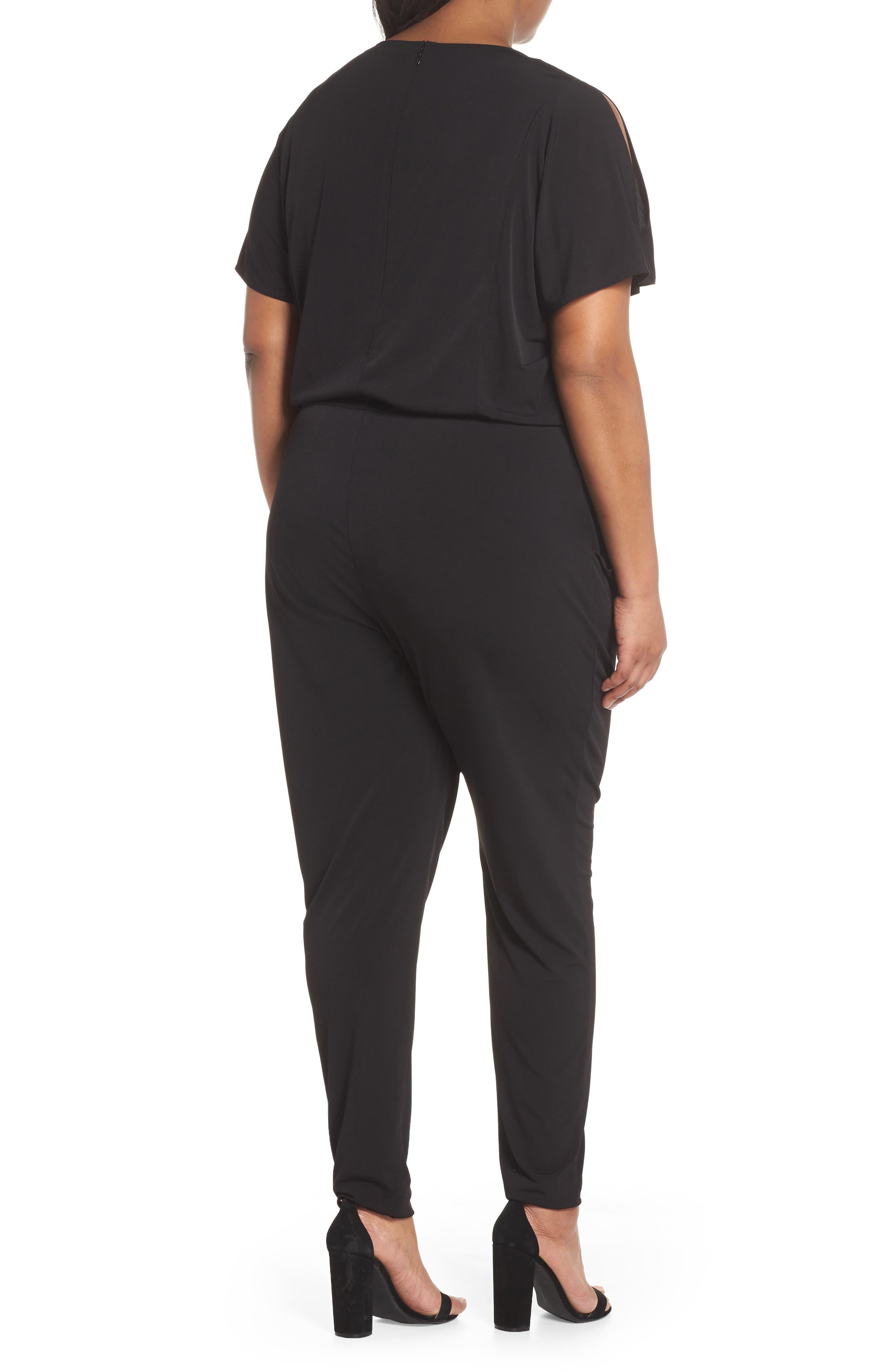 Flutter Sleeve Jersey Jumpsuit,                             Alternate thumbnail 2, color,                             001