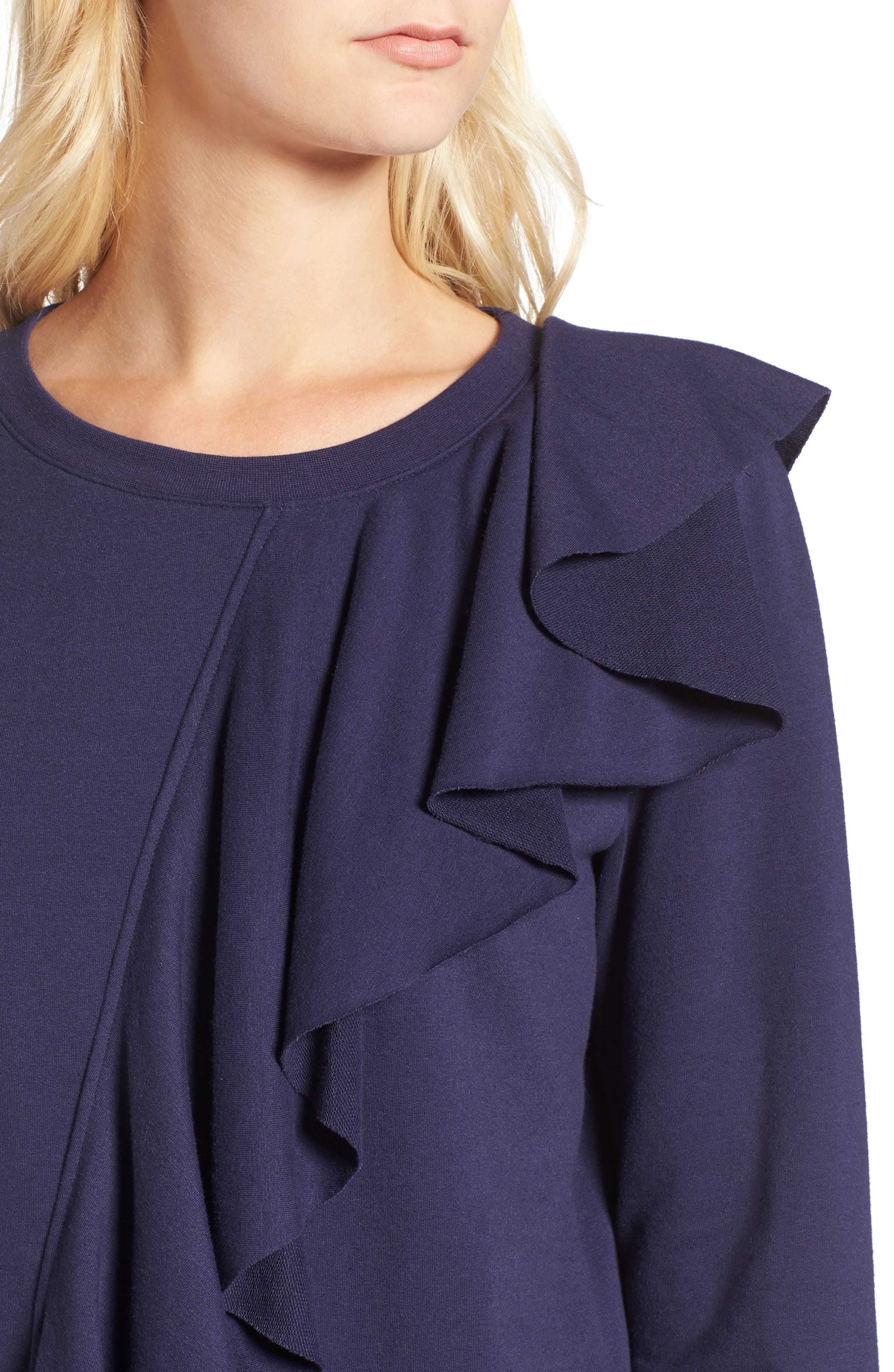 Asymmetrical Ruffle Sweatshirt,                             Alternate thumbnail 4, color,                             400