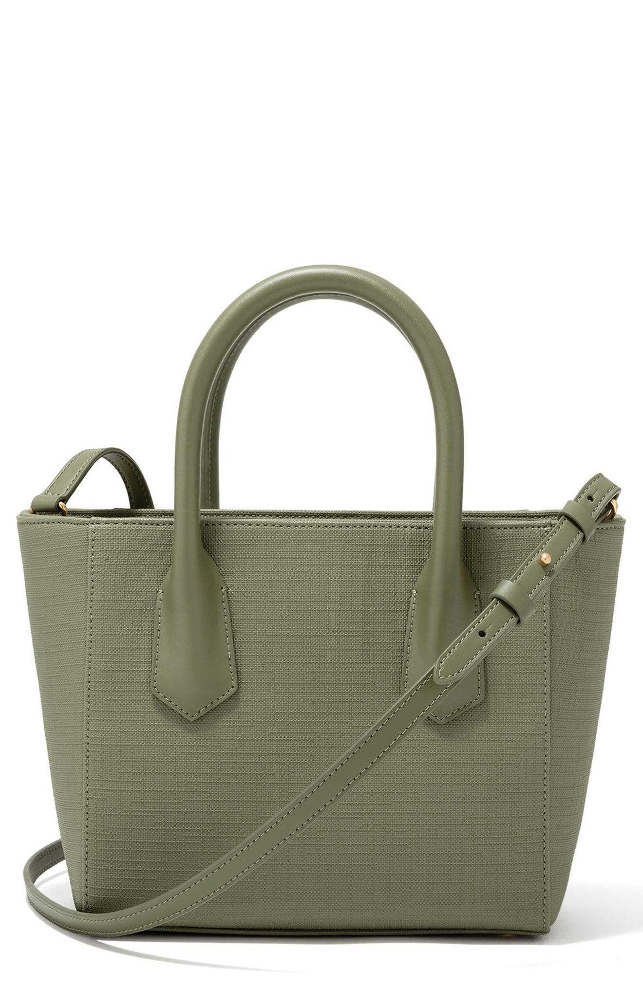 Signature Petite Coated Canvas Tote,                         Main,                         color, OLIVE