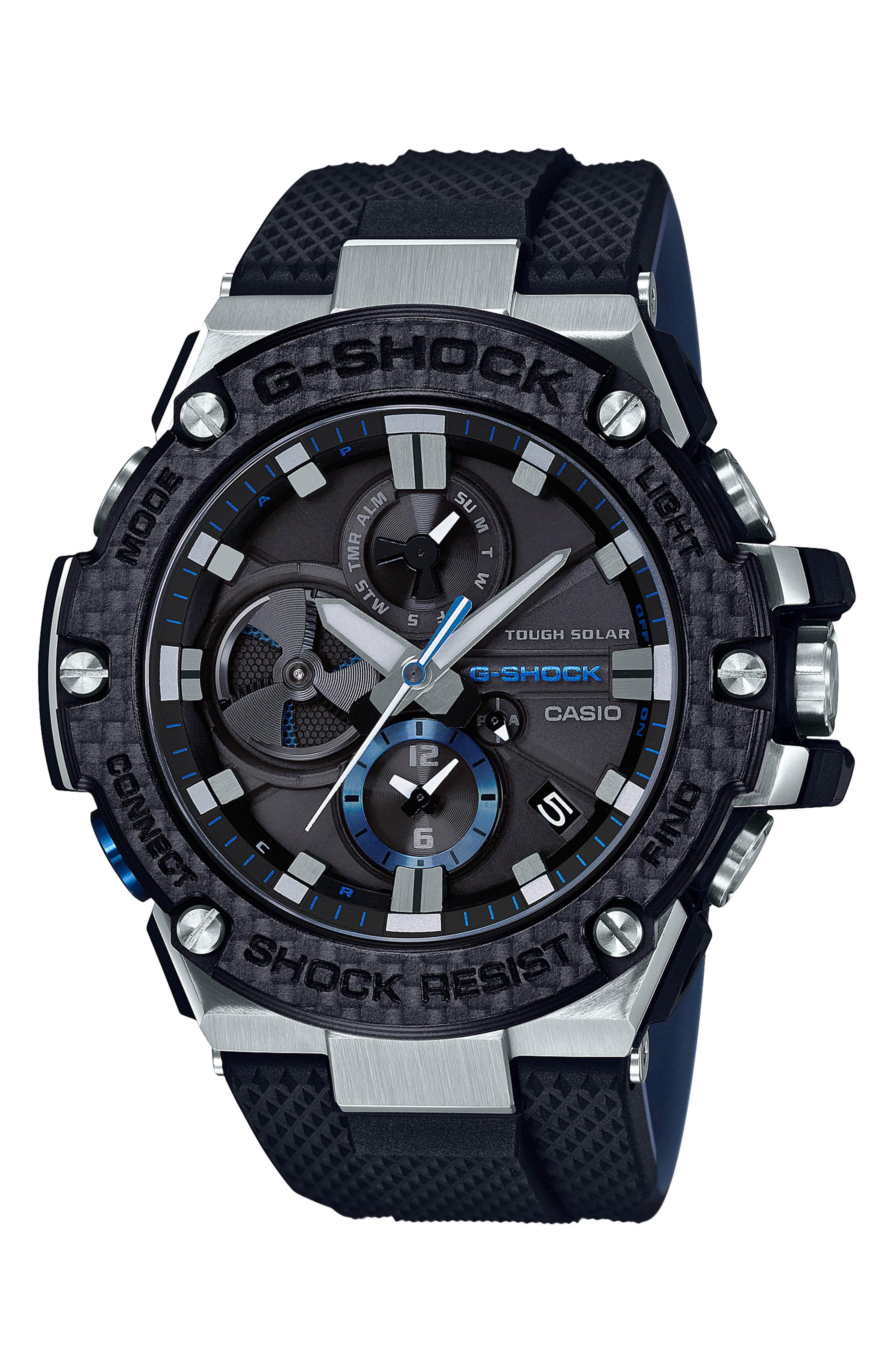 G-Shock G-Steel Resin Casio Analog Watch,                             Main thumbnail 1, color,                             BLACK/ SILVER