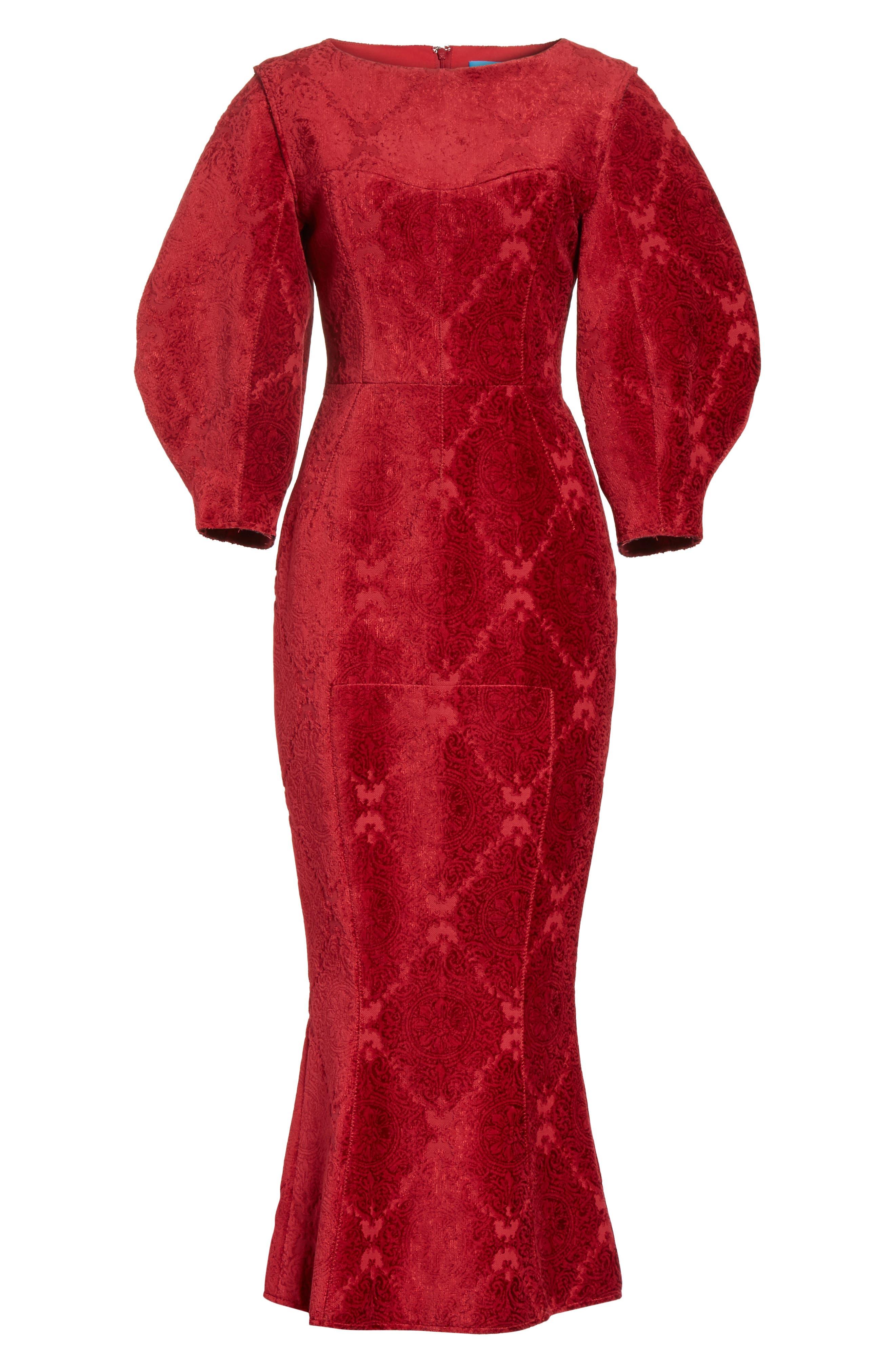 Detachable Sleeve Flocked Velvet Dress,                             Alternate thumbnail 6, color,                             600