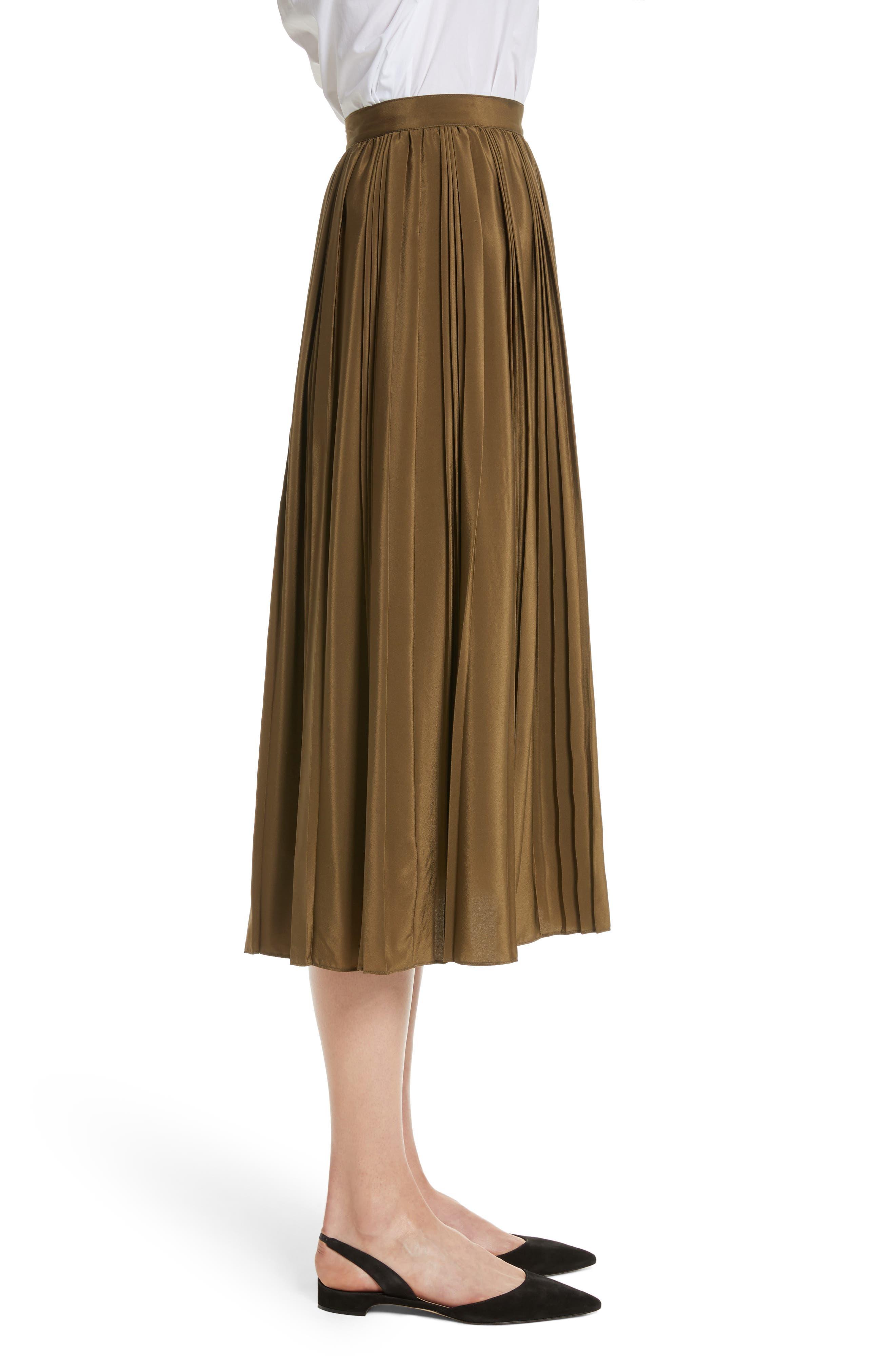 Pleated Silk Skirt,                             Alternate thumbnail 3, color,                             300