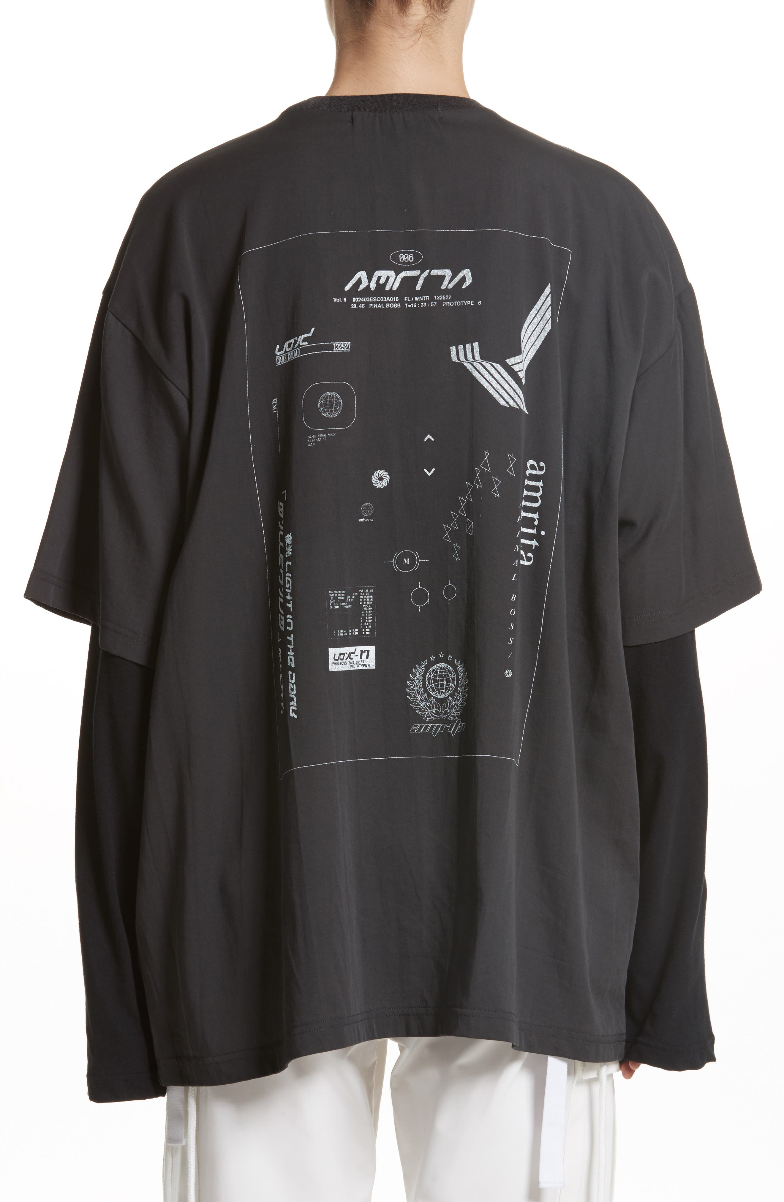 Layered Oversize Tee,                             Alternate thumbnail 2, color,                             001