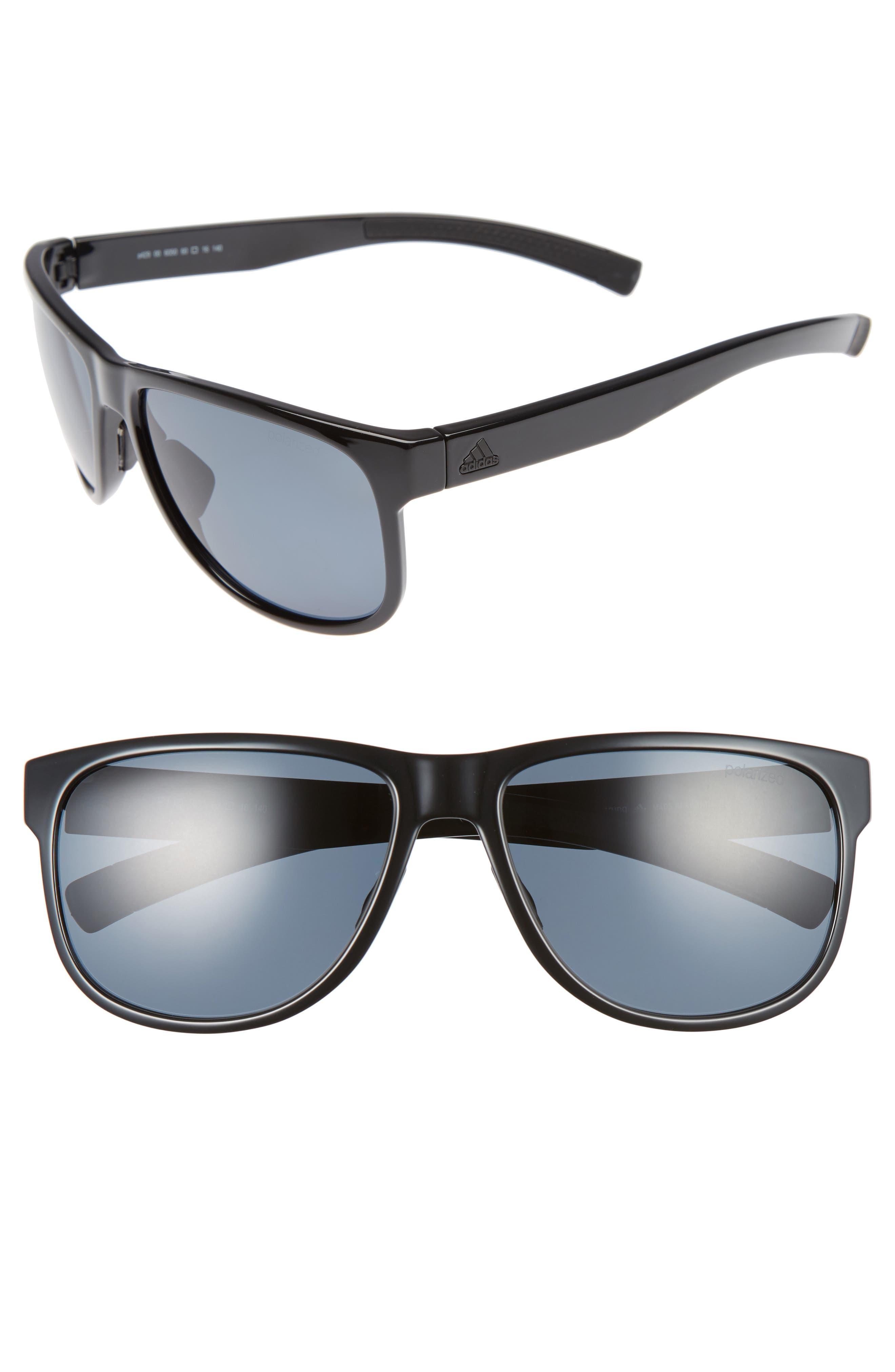 Sprung 60mm Sunglasses,                         Main,                         color, SHINY BLACK/ GREY POLAR