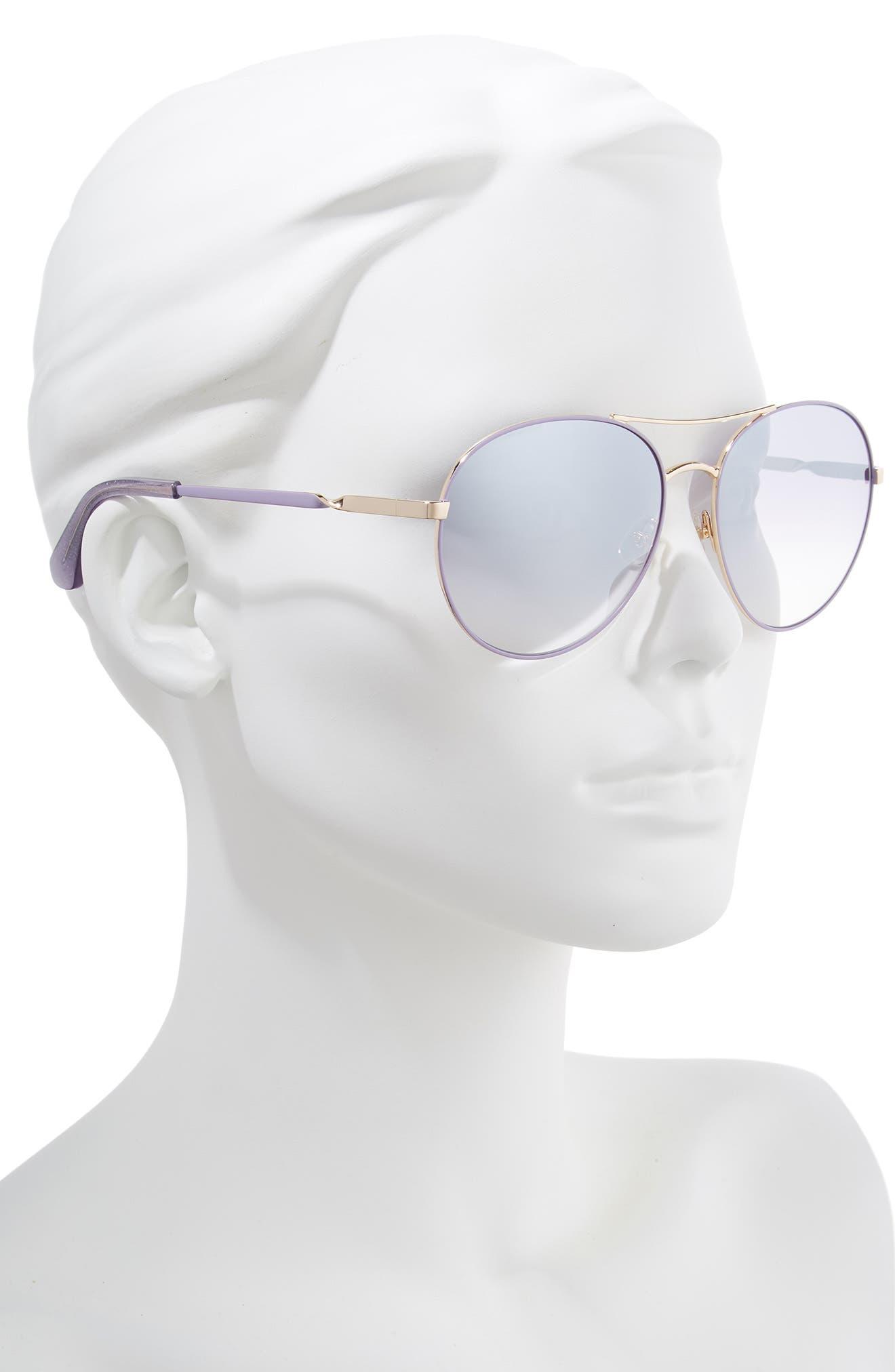 joshelle 60mm aviator sunglasses,                             Alternate thumbnail 2, color,                             PLUM