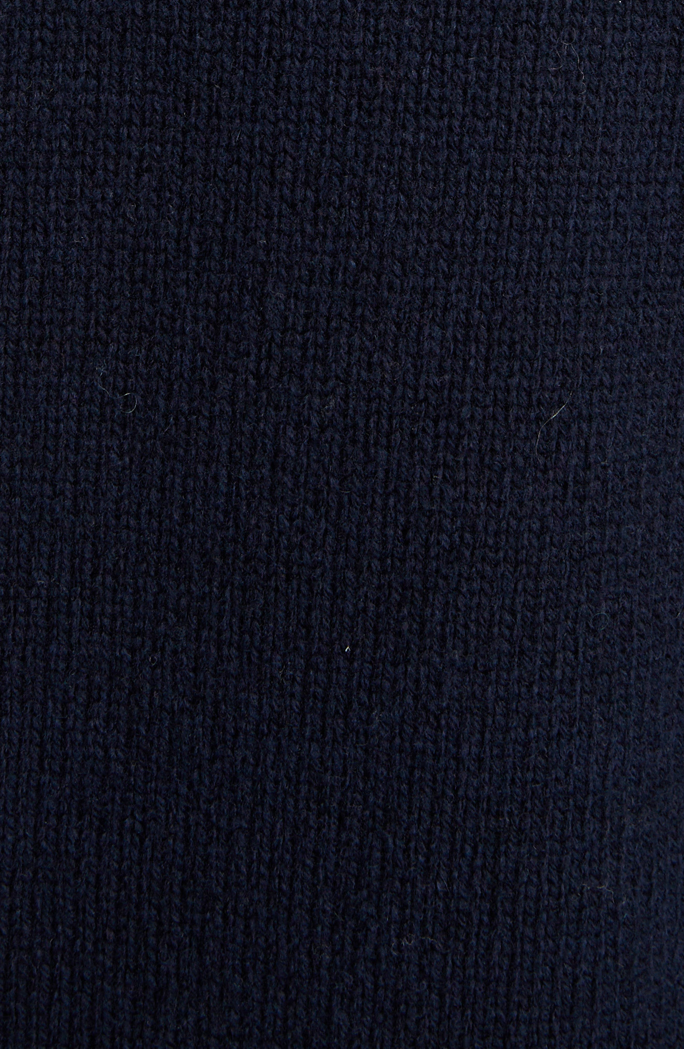 Inset Stretch Wool Sweater,                             Alternate thumbnail 5, color,                             NAVY