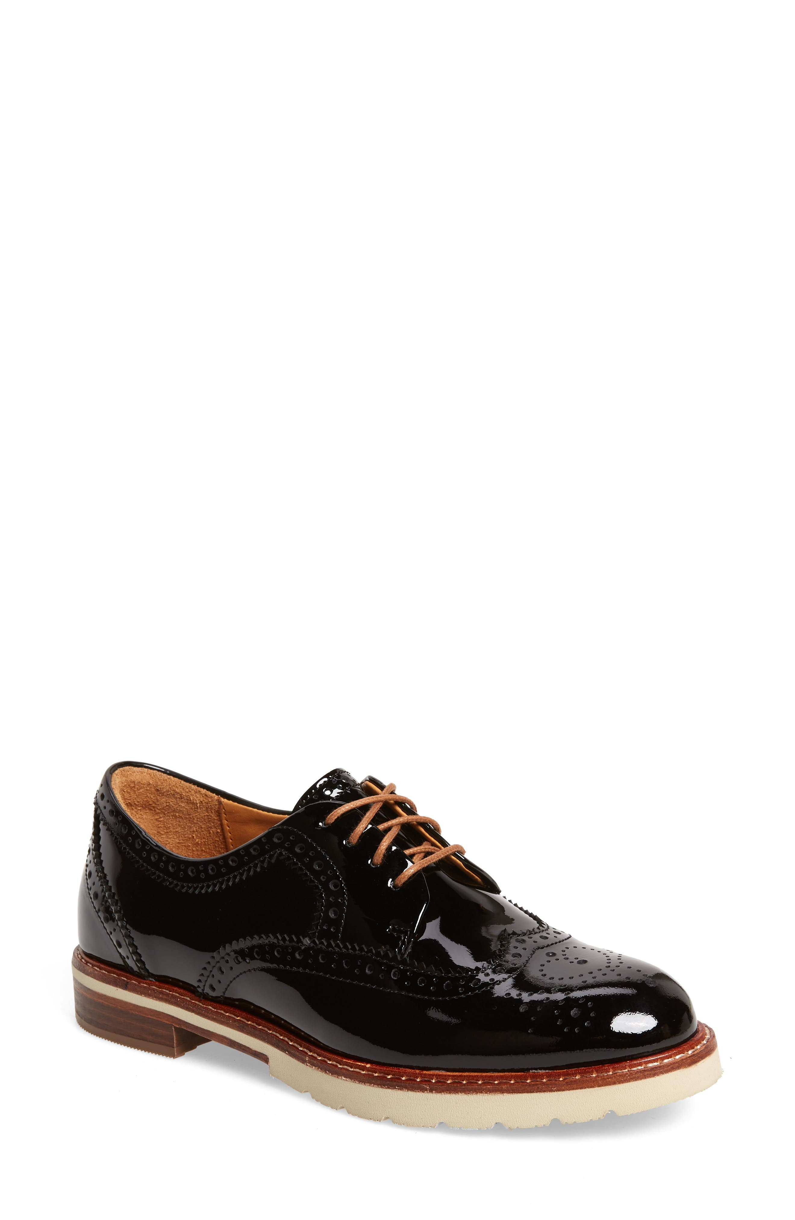 SAMUEL HUBBARD Winged Traveler Oxford, Main, color, BLACK PATENT LEATHER