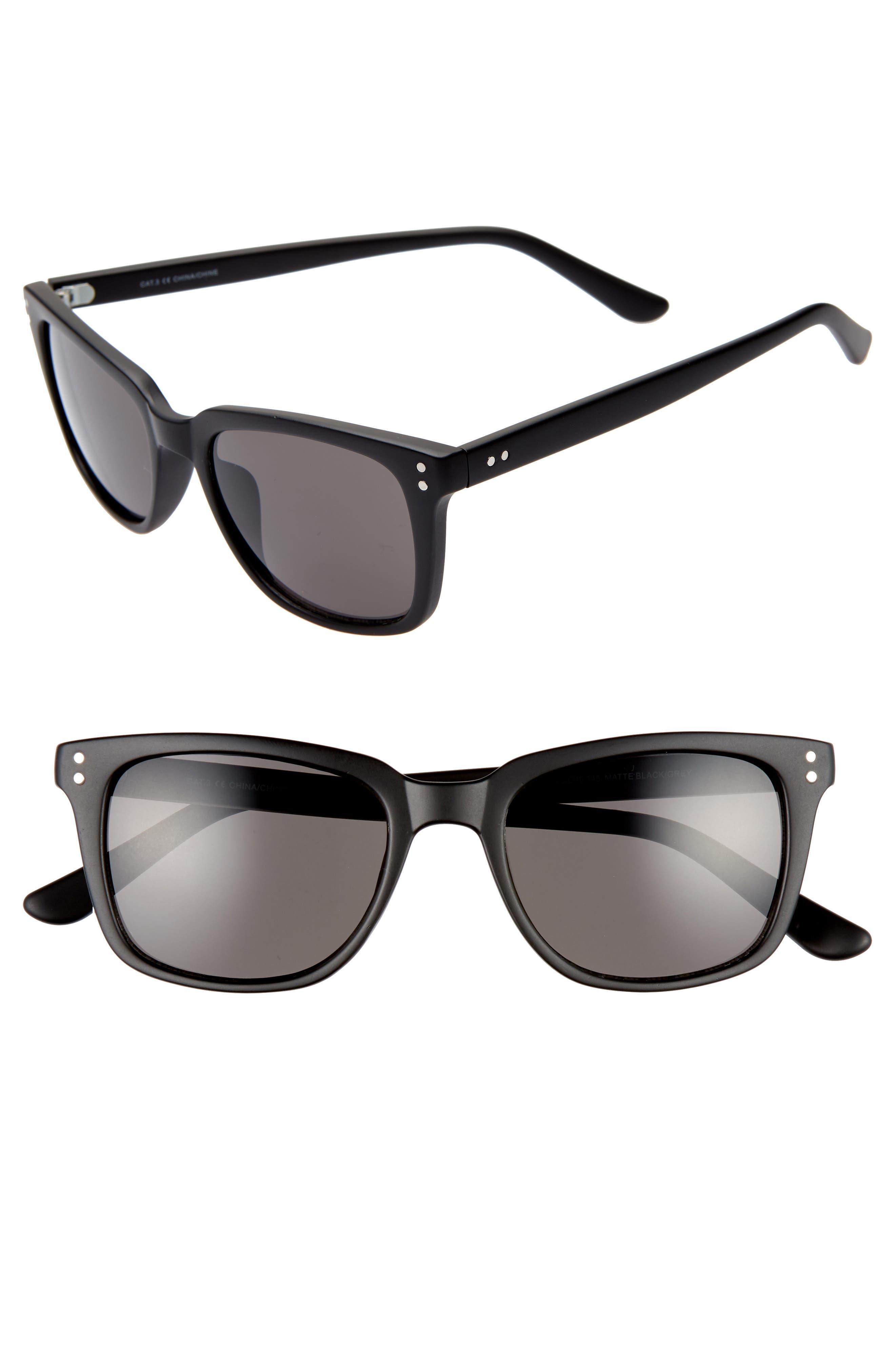 Curtis 52mm Square Sunglasses,                         Main,                         color, MATTE BLACK/ GREY