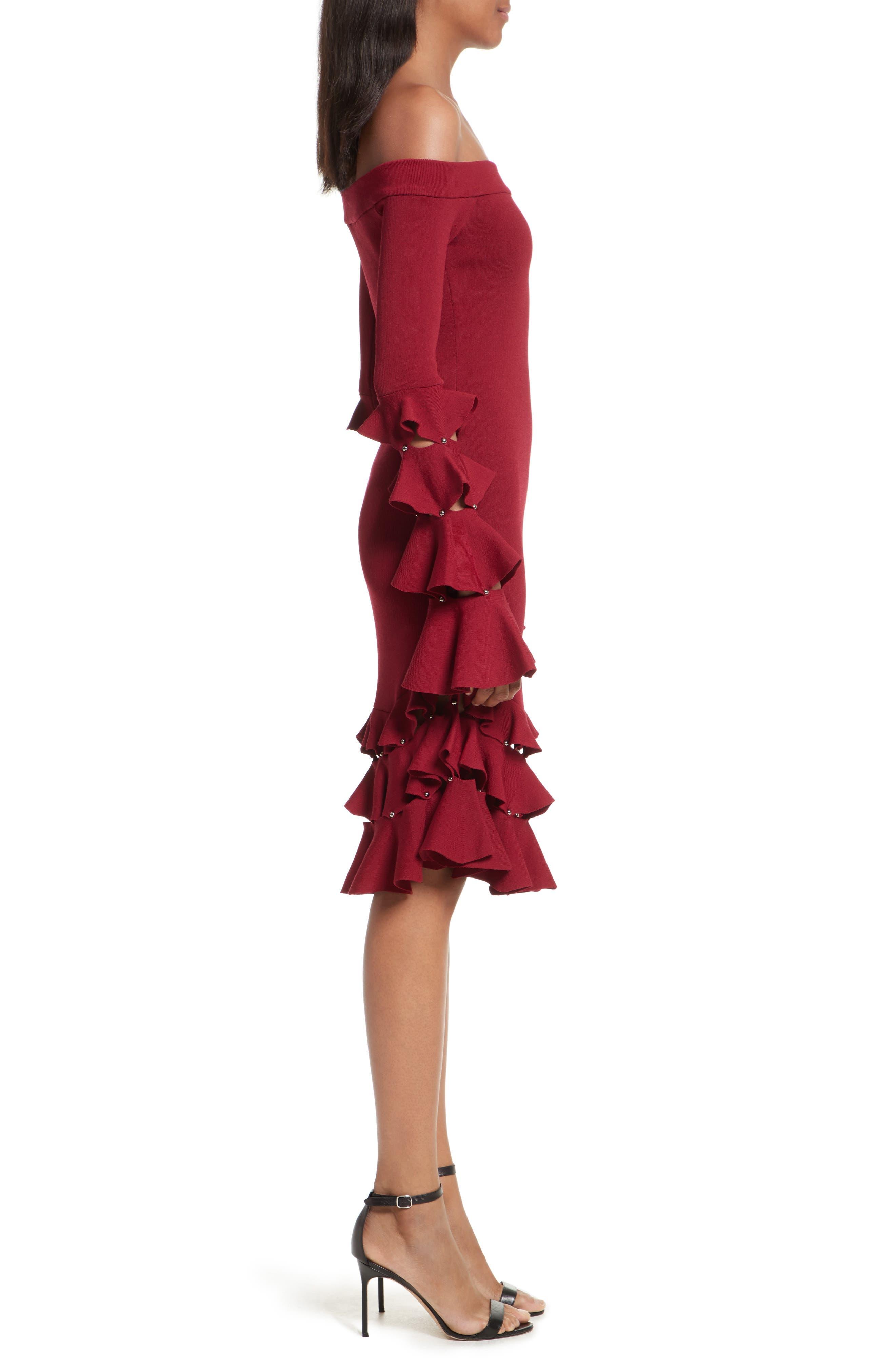 Slashed Knit Ruffle Off the Shoulder Dress,                             Alternate thumbnail 3, color,                             604