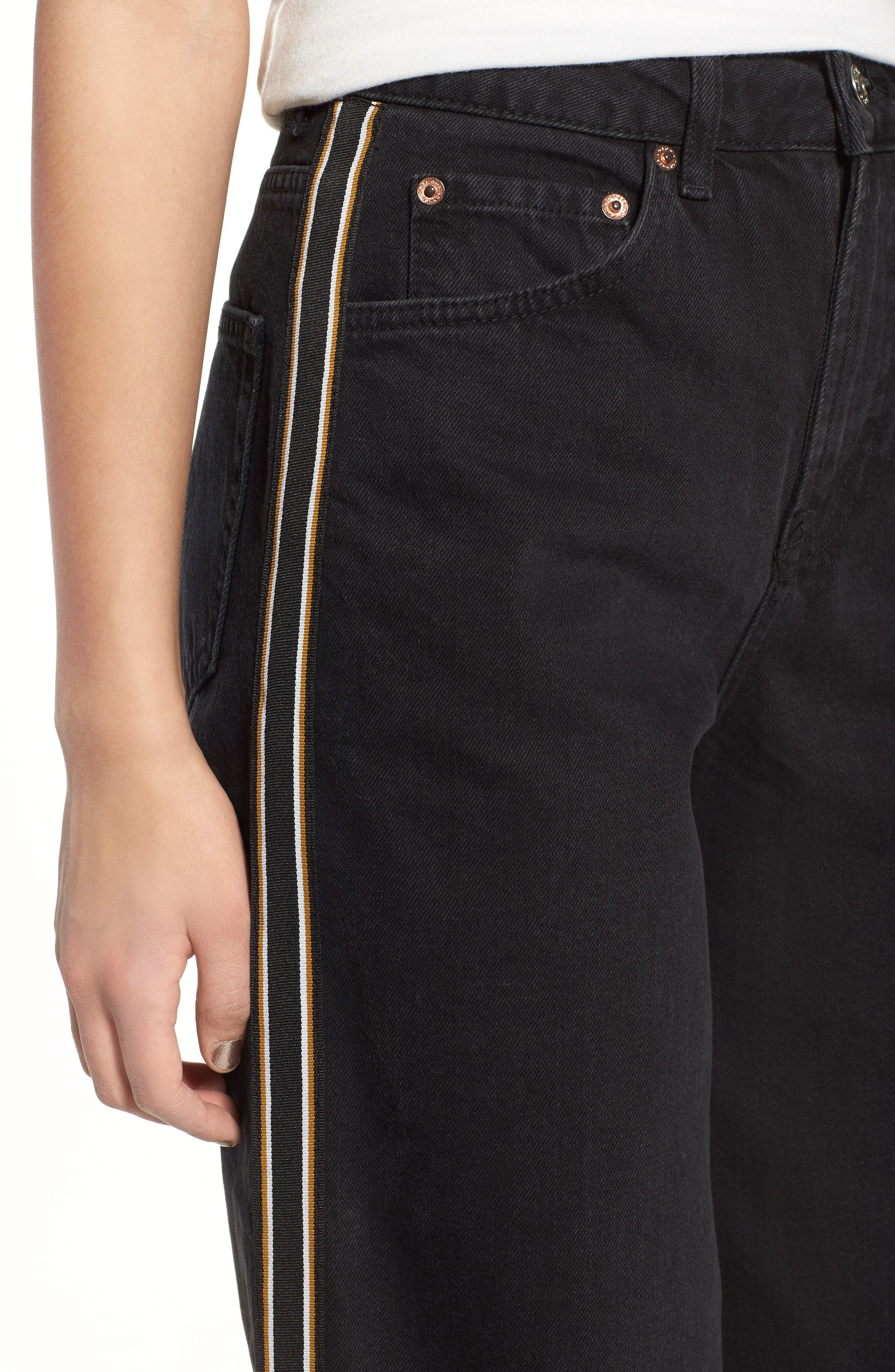 Stripe Hem Crop Jeans,                             Alternate thumbnail 4, color,                             003