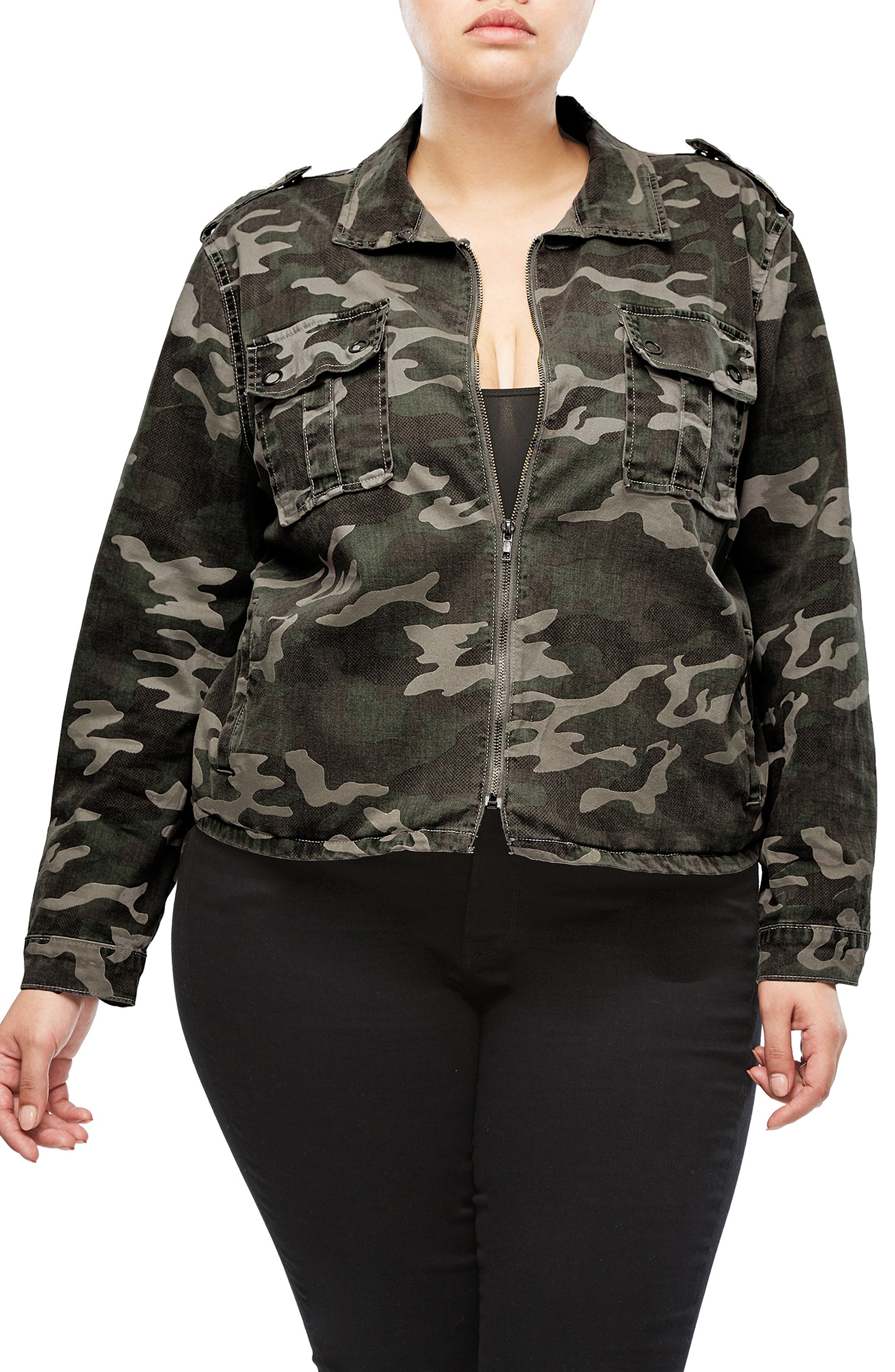 Camo Print Military Jacket,                             Alternate thumbnail 2, color,                             301