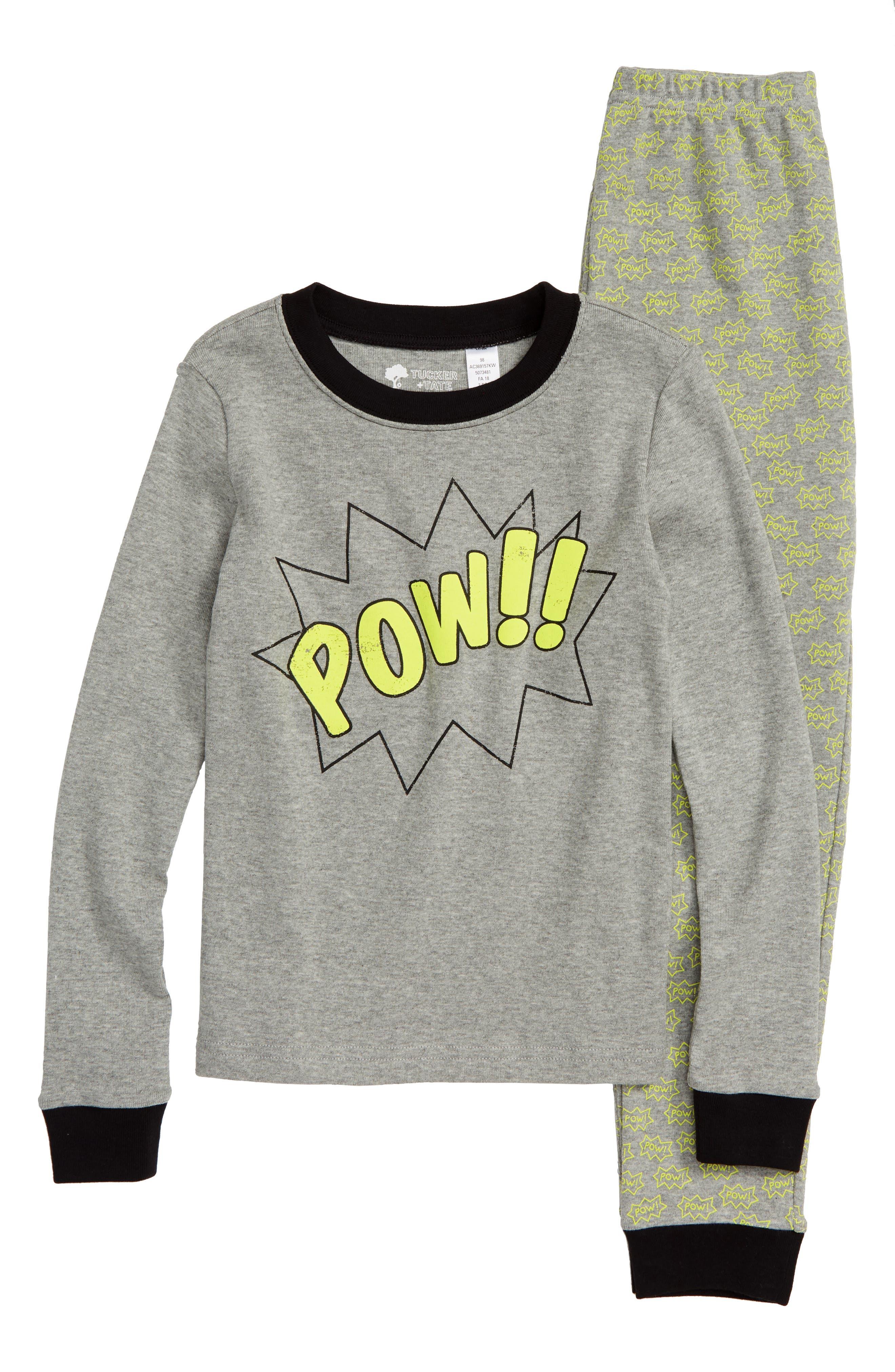 Glow in the Dark Two-Piece Fitted Pajamas,                         Main,                         color, GREY MEDIUM HEATHER SUPERHERO