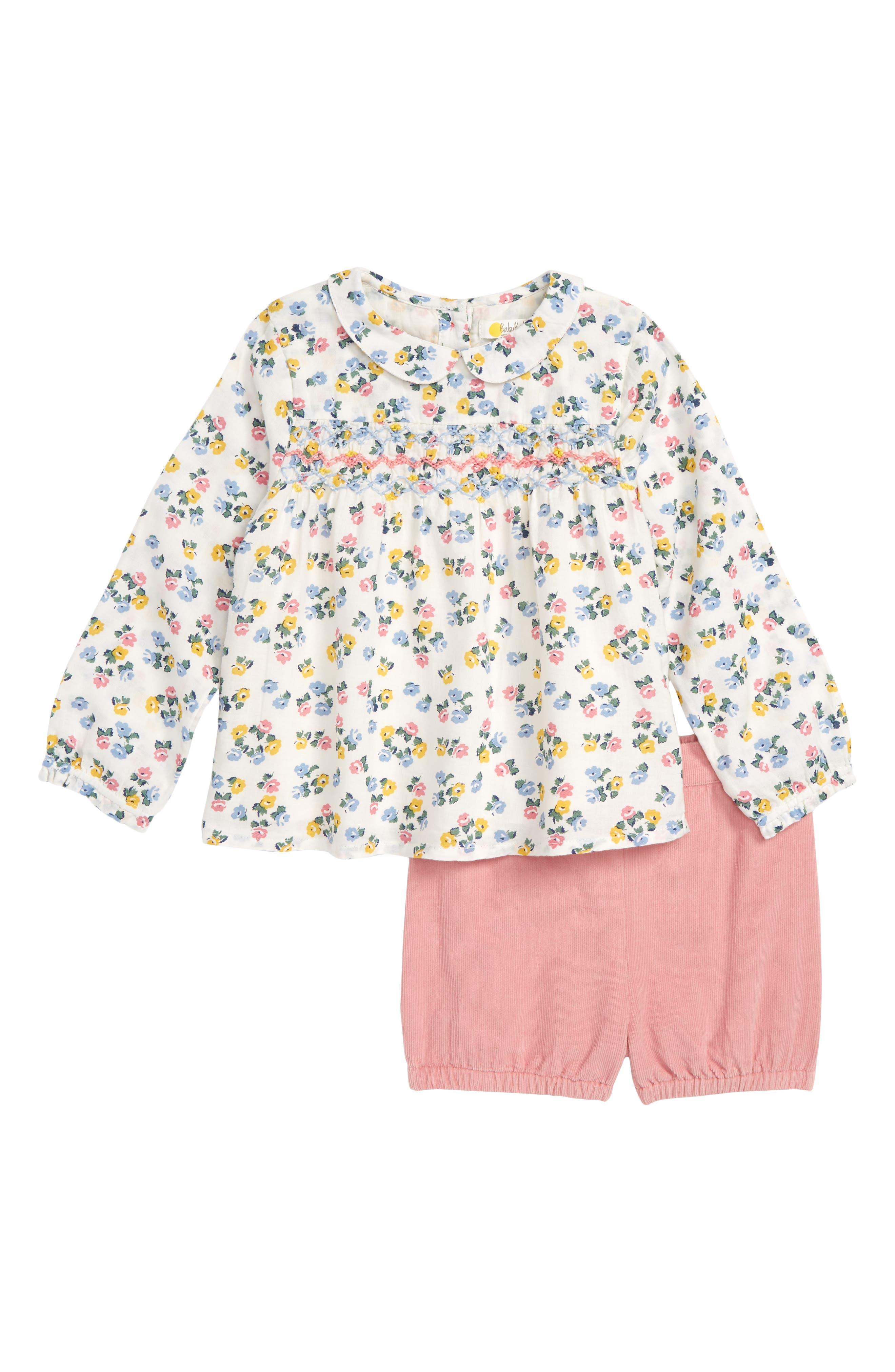 Toddler Girls Mini Boden Smock Woven Top  Shorts Set