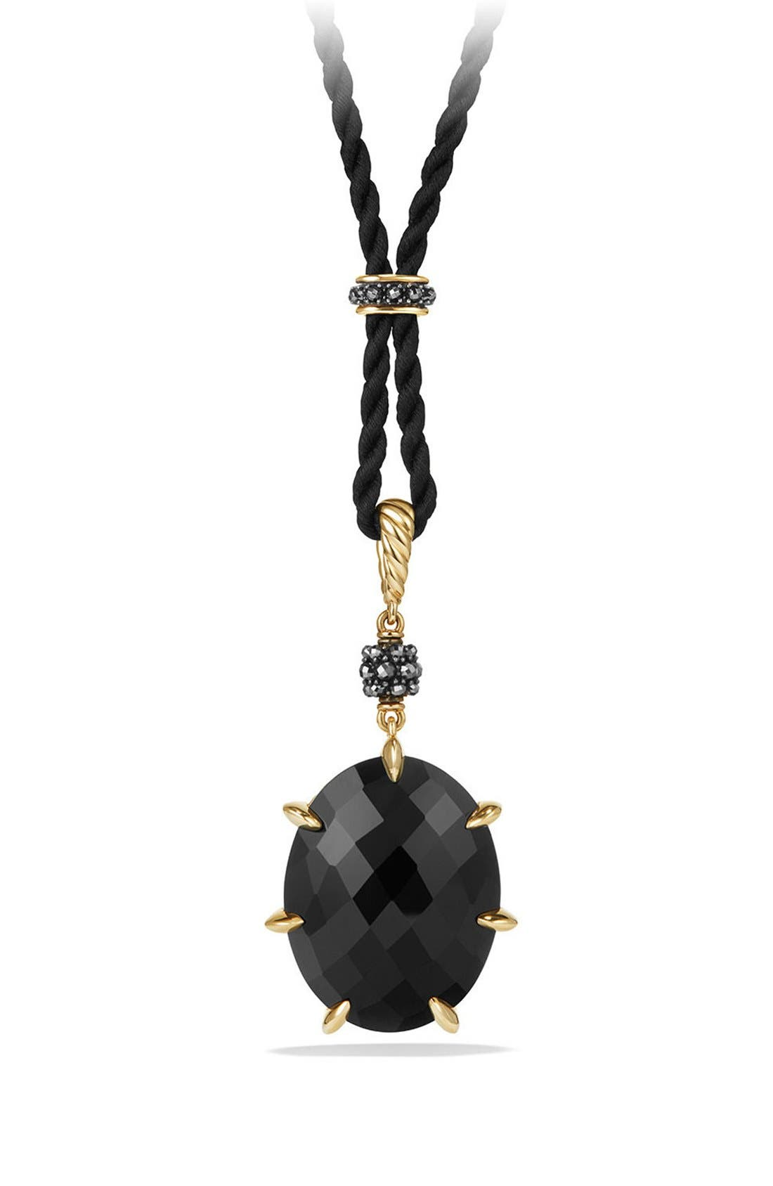 Cable Berries Long Station Pendant Necklace with 18K Gold,                             Main thumbnail 1, color,                             BLACK ONYX