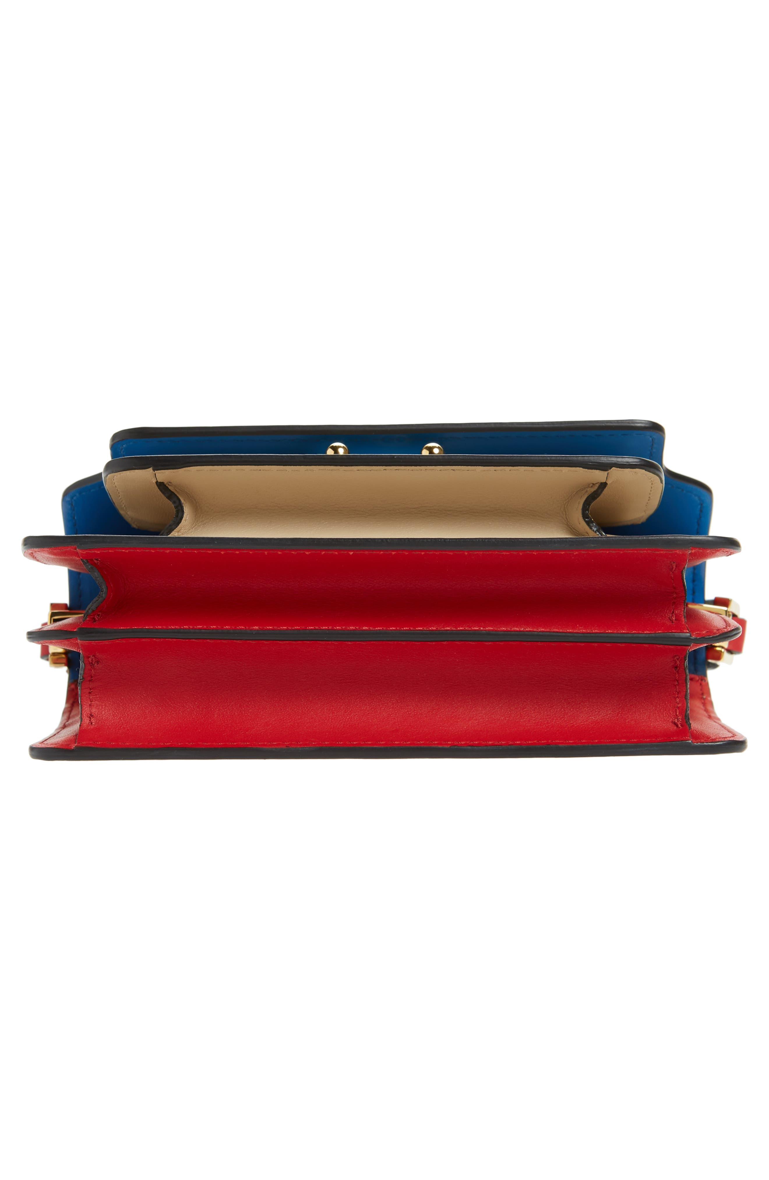 Small Trunk Colorblock Leather Shoulder Bag,                             Alternate thumbnail 6, color,                             LIGHT CAMEL/ BLACK/ RED