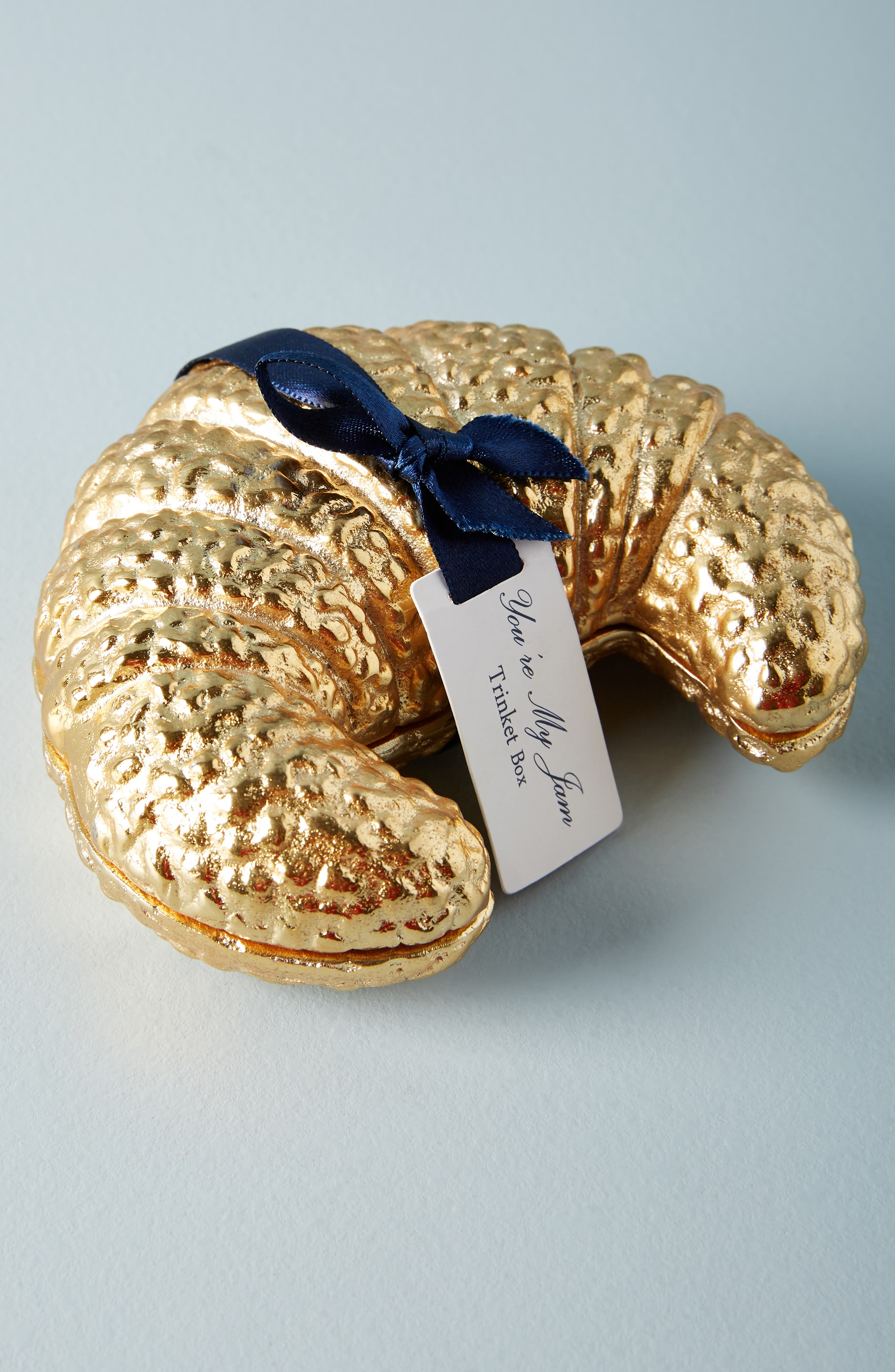 Gilded Croissant Trinket Box,                         Main,                         color, GOLD