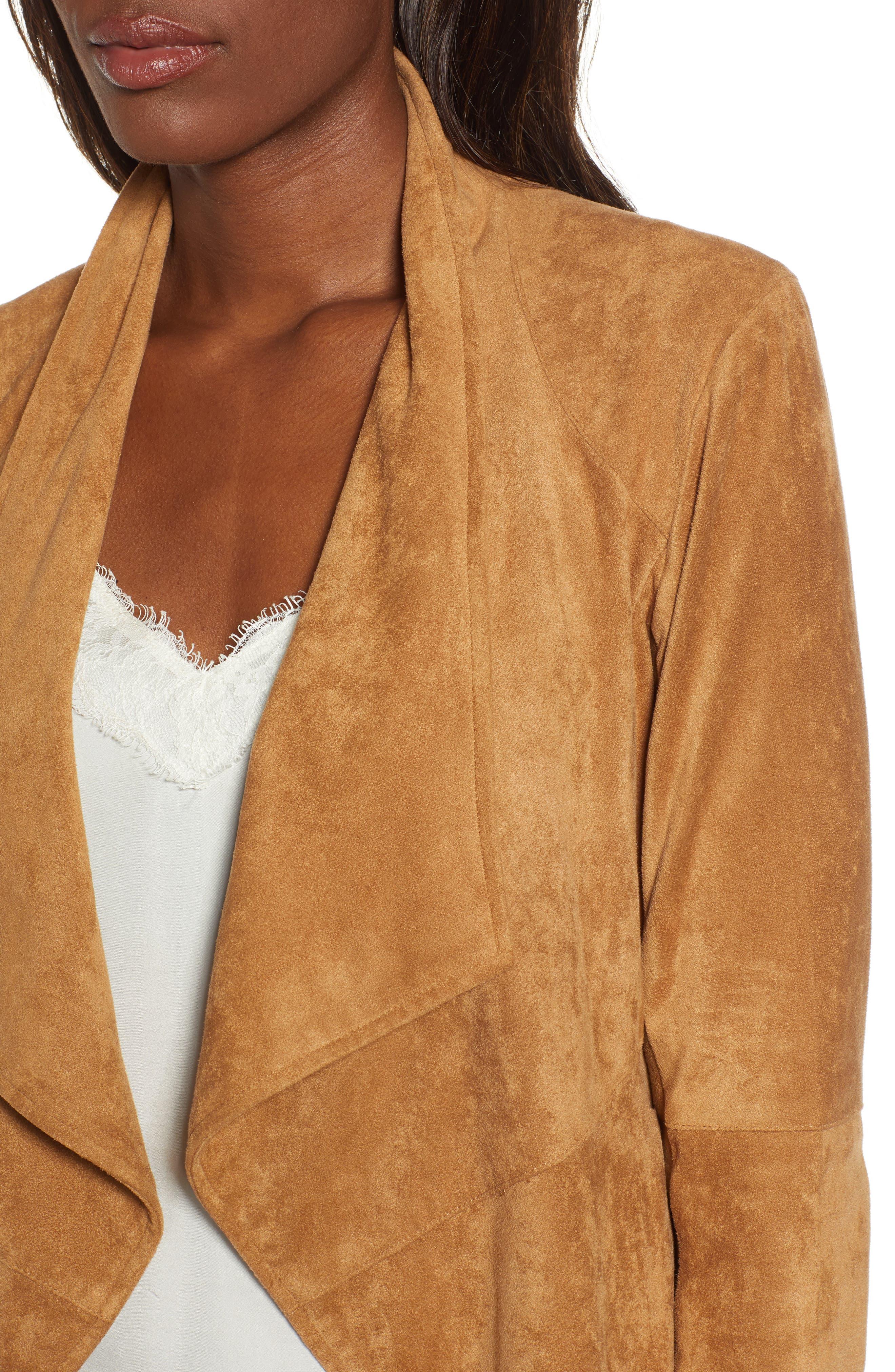 BB DAKOTA,                             Nicholson Faux Suede Drape Front Jacket,                             Alternate thumbnail 5, color,                             WHISKEY