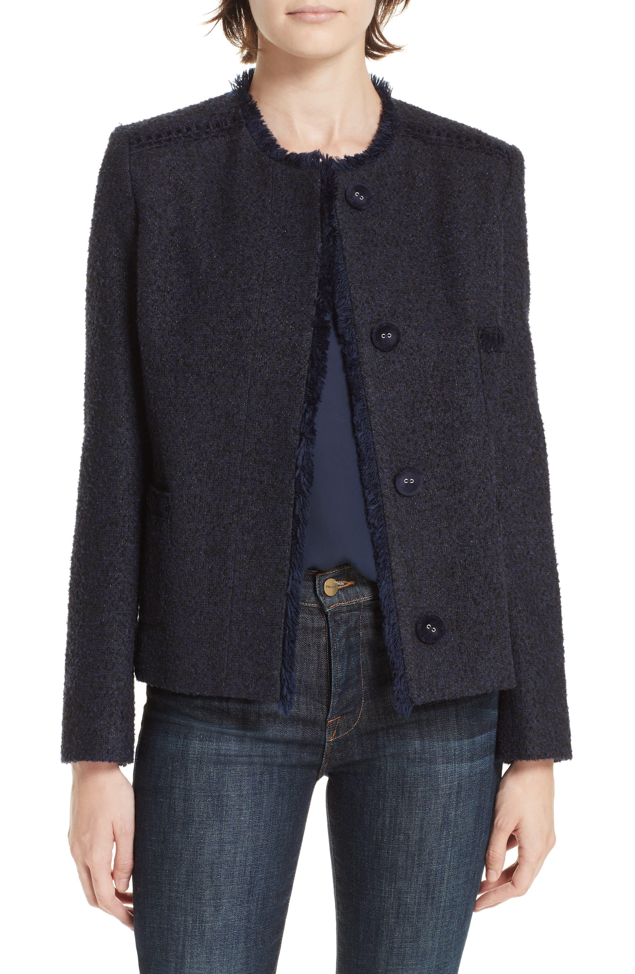 HELENE BERMAN Tweed Jacket in Navy