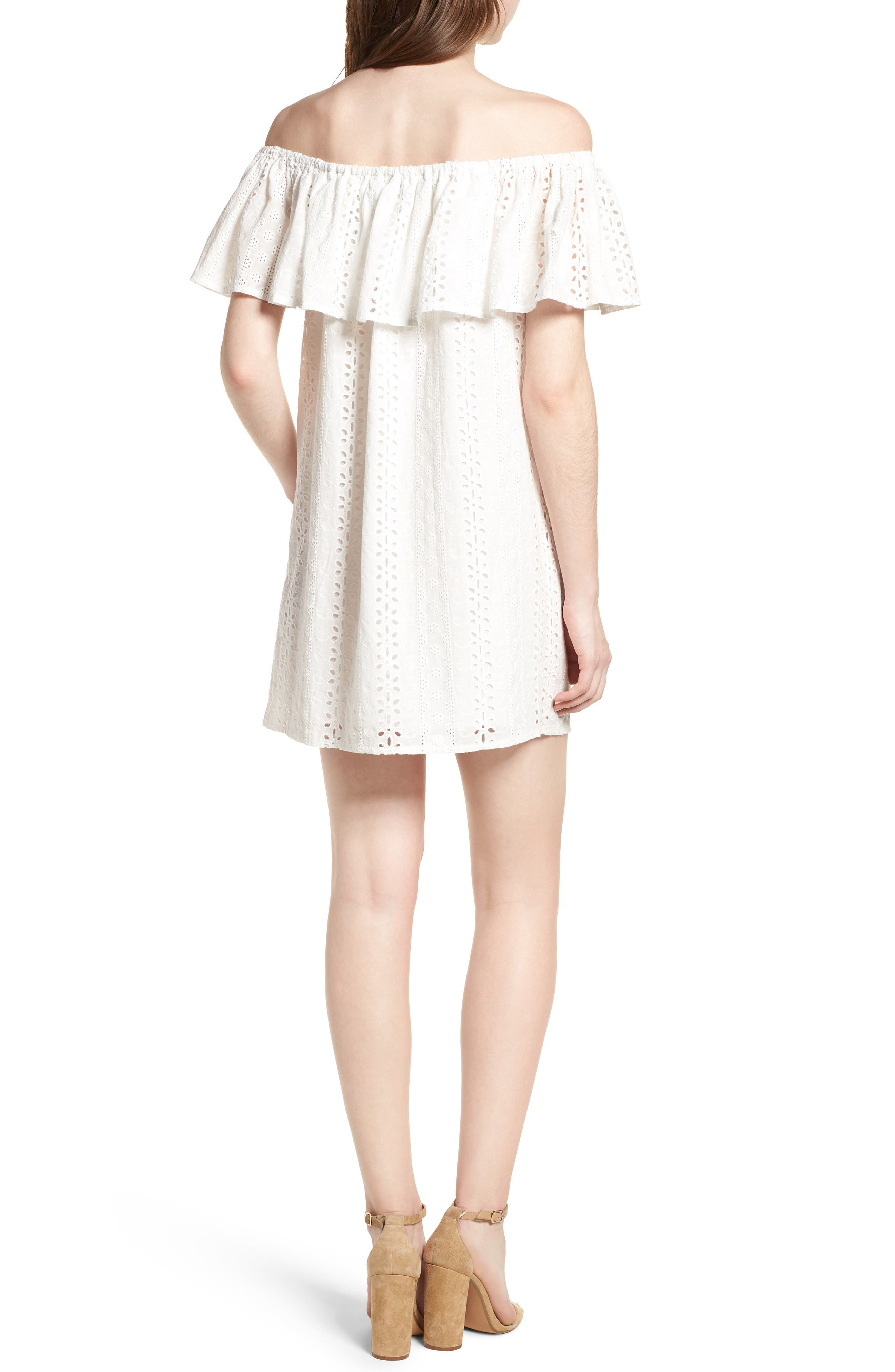 Bishop + Young Eyelet Ruffle Off the Shoulder Dress,                             Alternate thumbnail 2, color,                             100