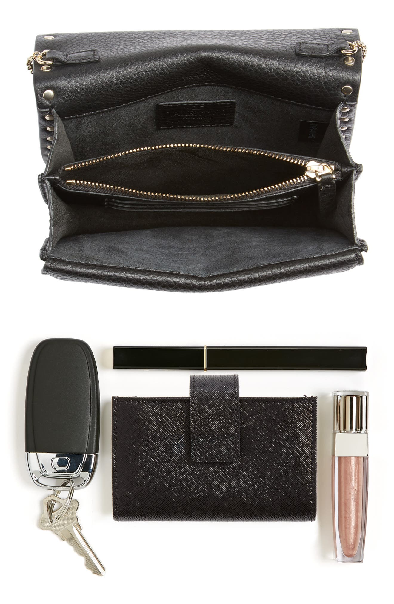 Rockstud Leather Pouch Wallet on a Chain,                             Alternate thumbnail 7, color,                             BLACK