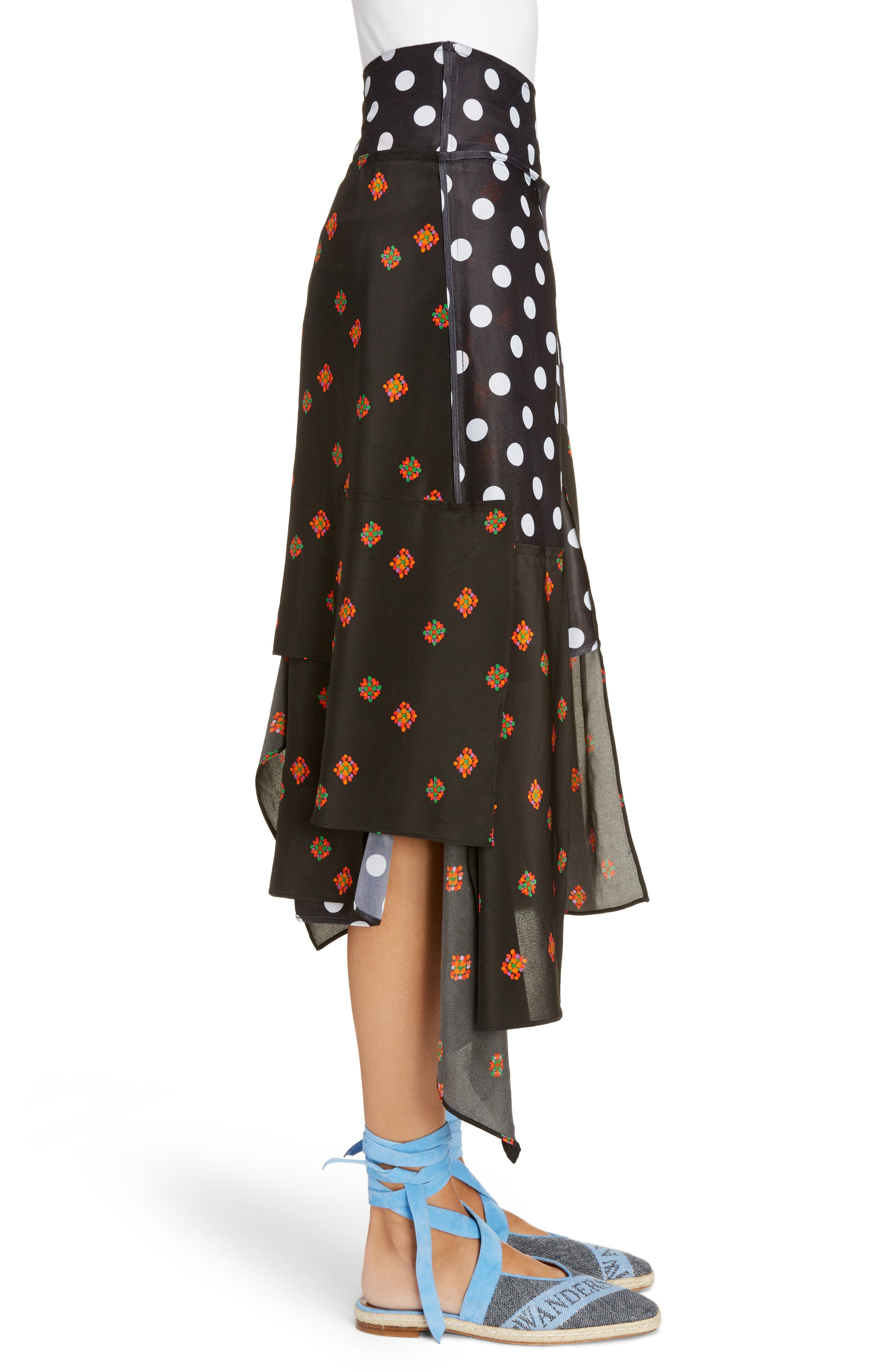 Polka Dot & Floral Panel Skirt,                             Alternate thumbnail 3, color,                             001