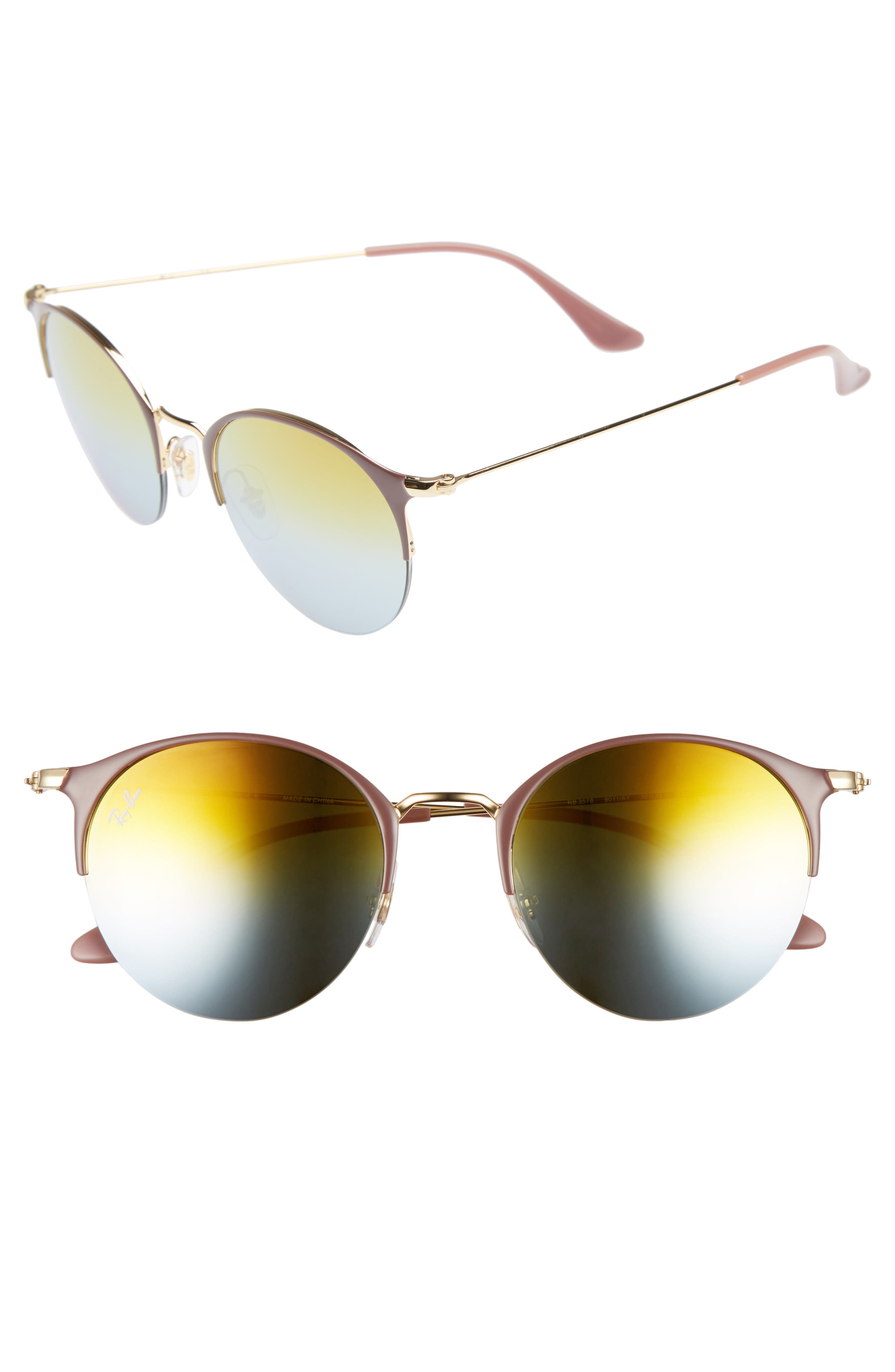 50mm Round Sunglasses,                         Main,                         color, GOLD TOP/ GREEN GRADIENT