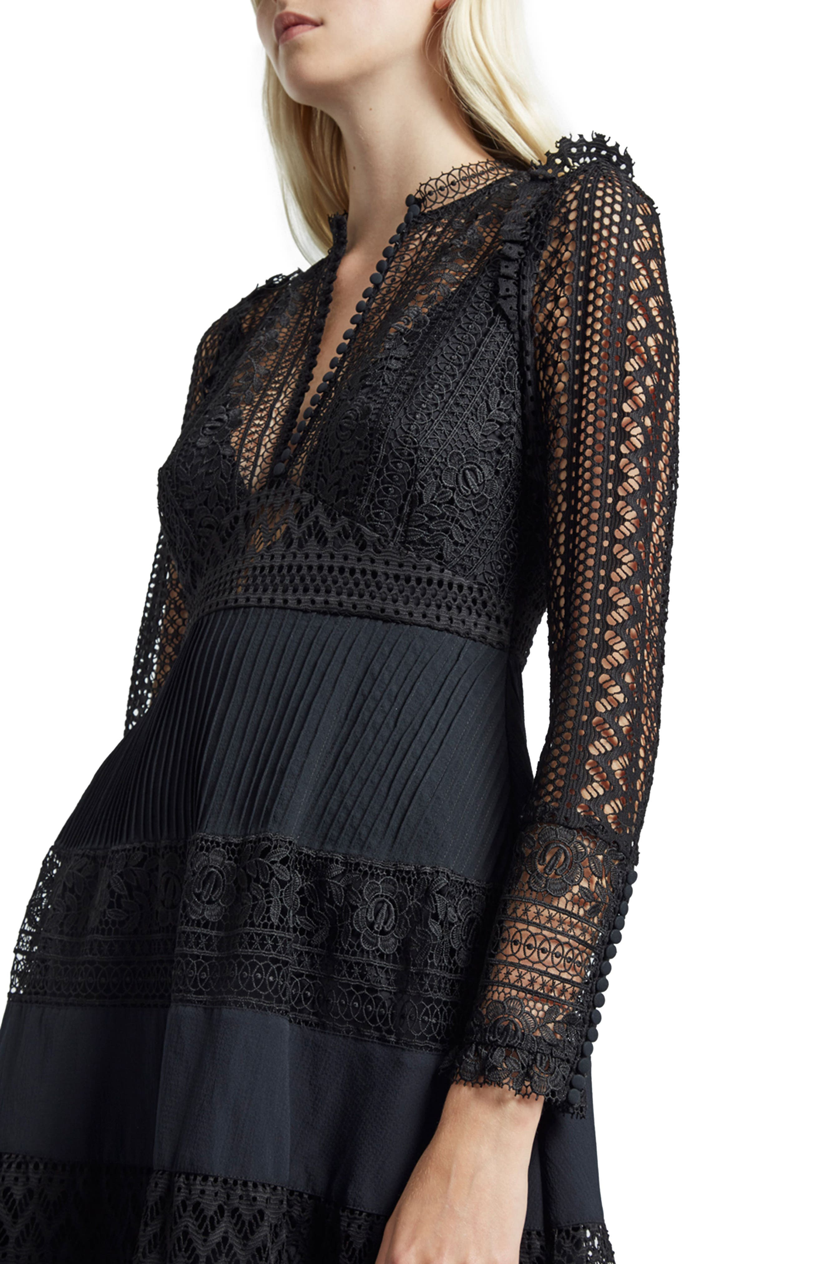 Orabelle Lace Fit & Flare Dress,                             Alternate thumbnail 3, color,