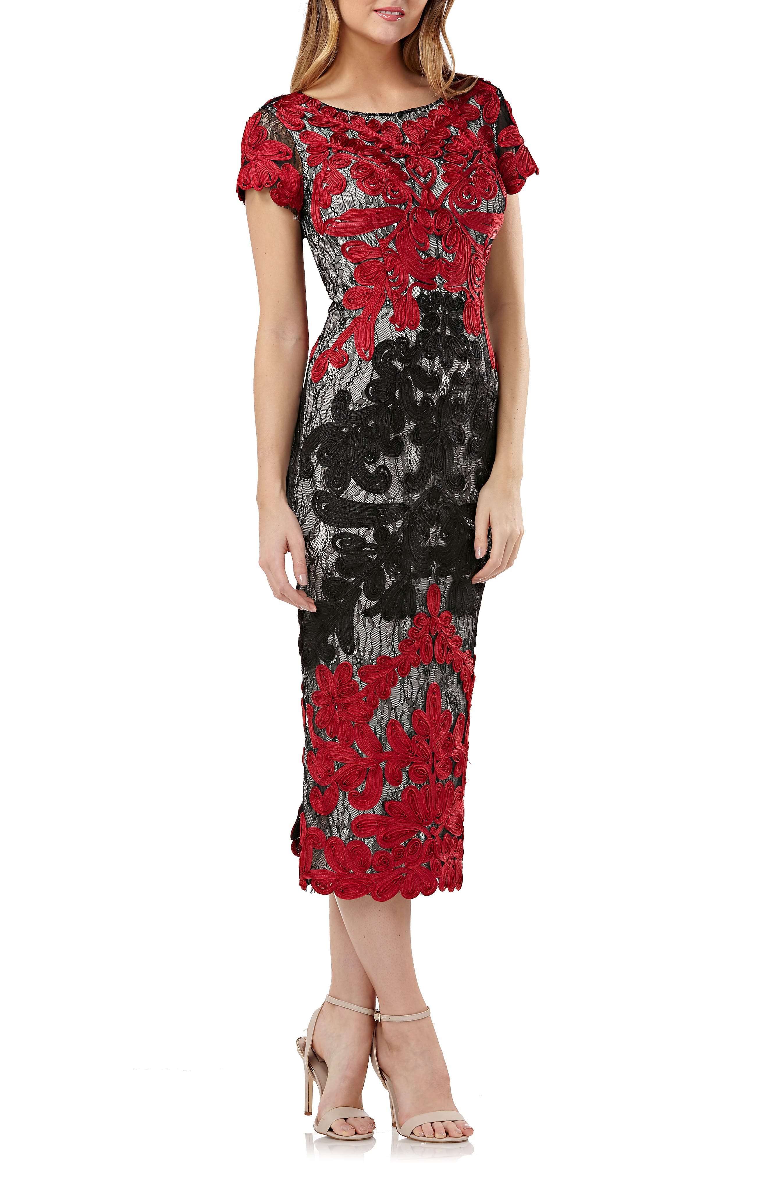 JS COLLECTIONS Boat-Neck Short-Sleeve Two-Tone Embroidered Soutache Midi Dress in Red/Black