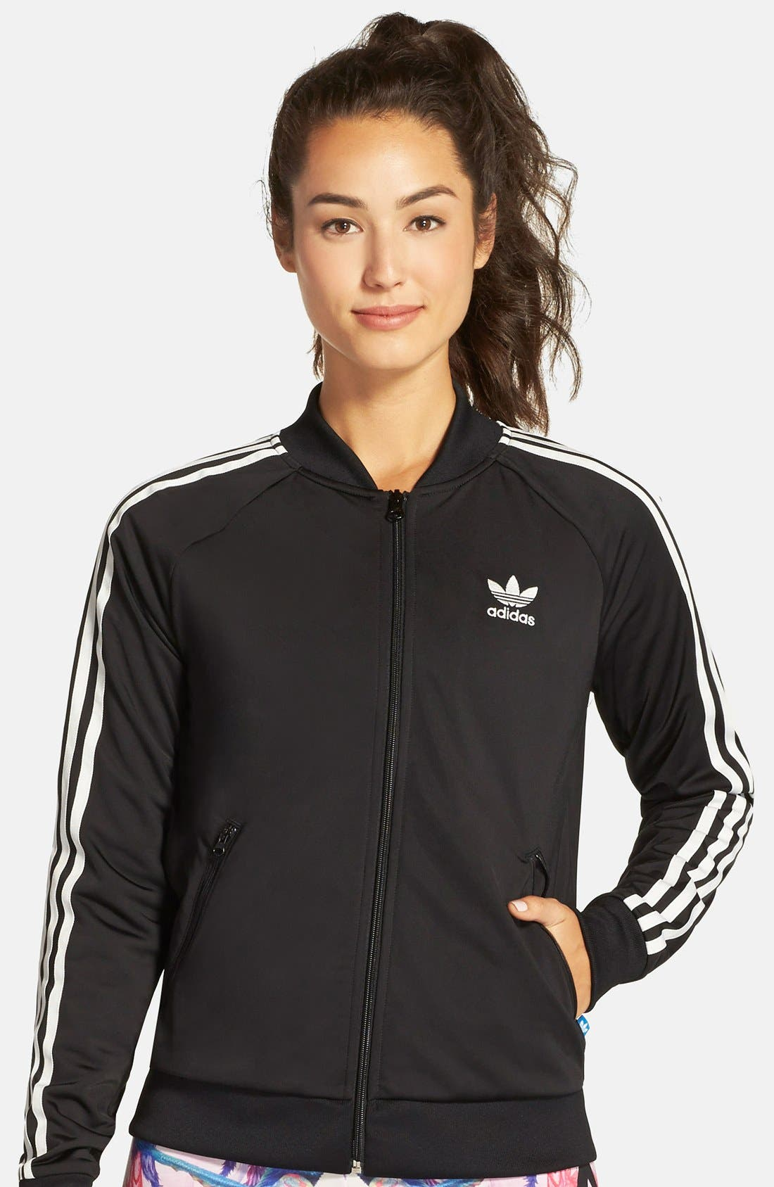 Originals 'Superstar' 3-Stripes Track Jacket,                             Main thumbnail 1, color,                             001
