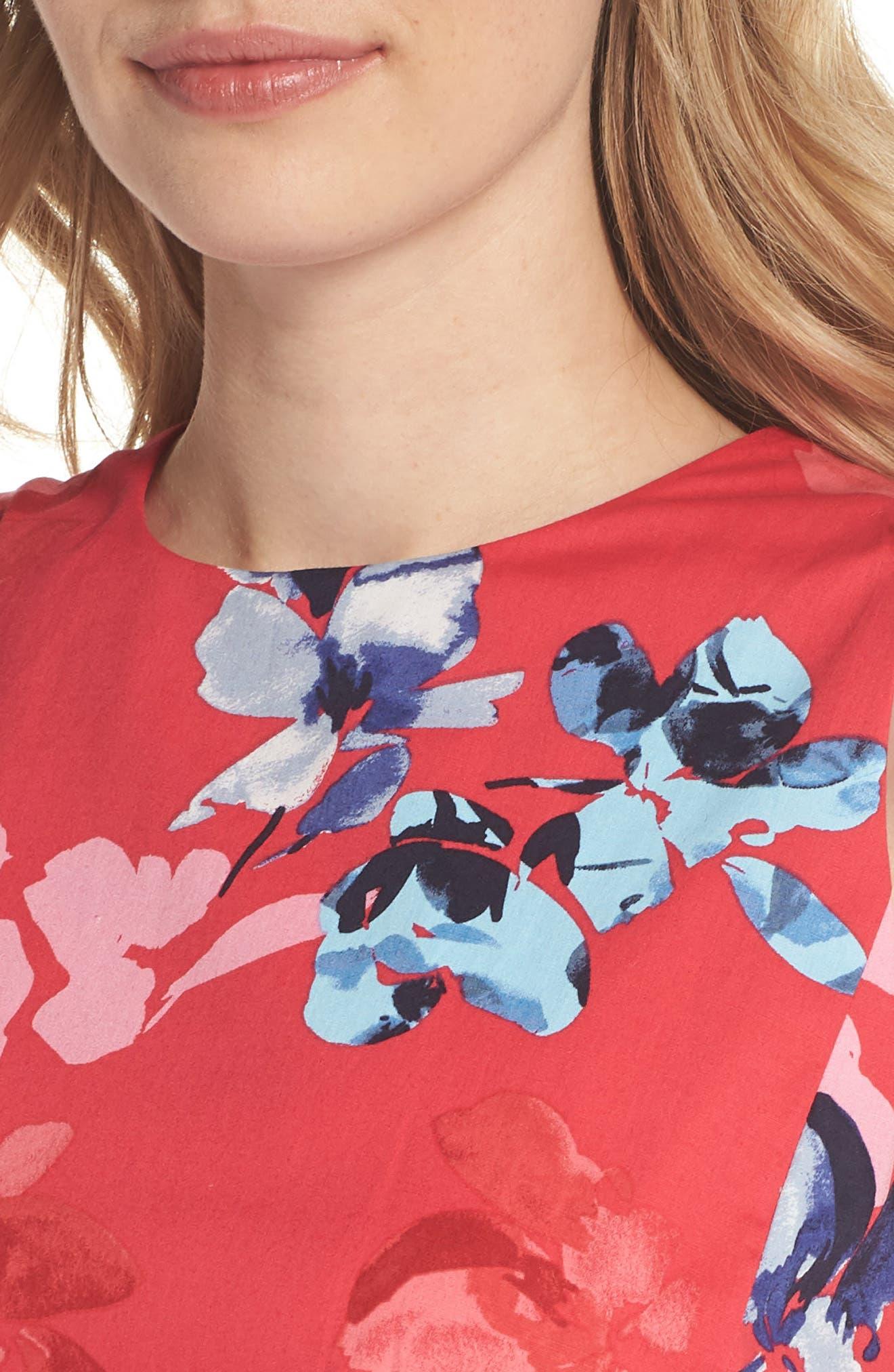 Floral Cotton Fit & Flare Dress,                             Alternate thumbnail 4, color,                             653