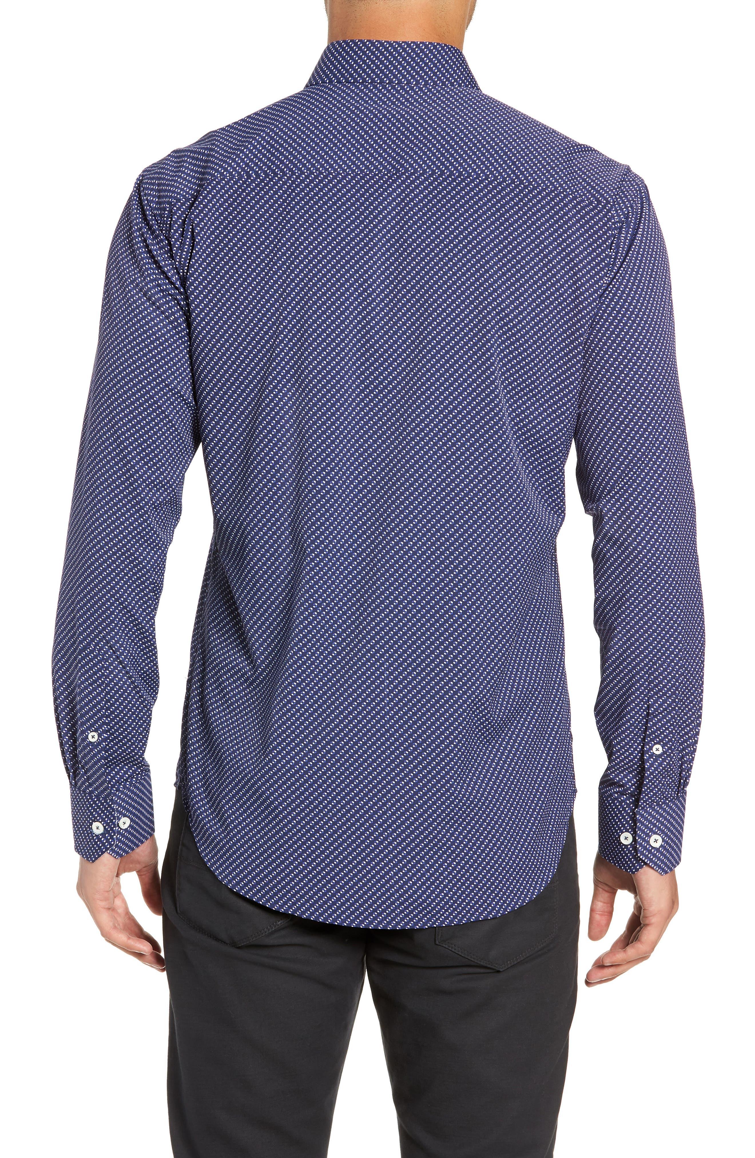 Shaped Fit Performance Sport Shirt,                             Alternate thumbnail 3, color,                             NAVY