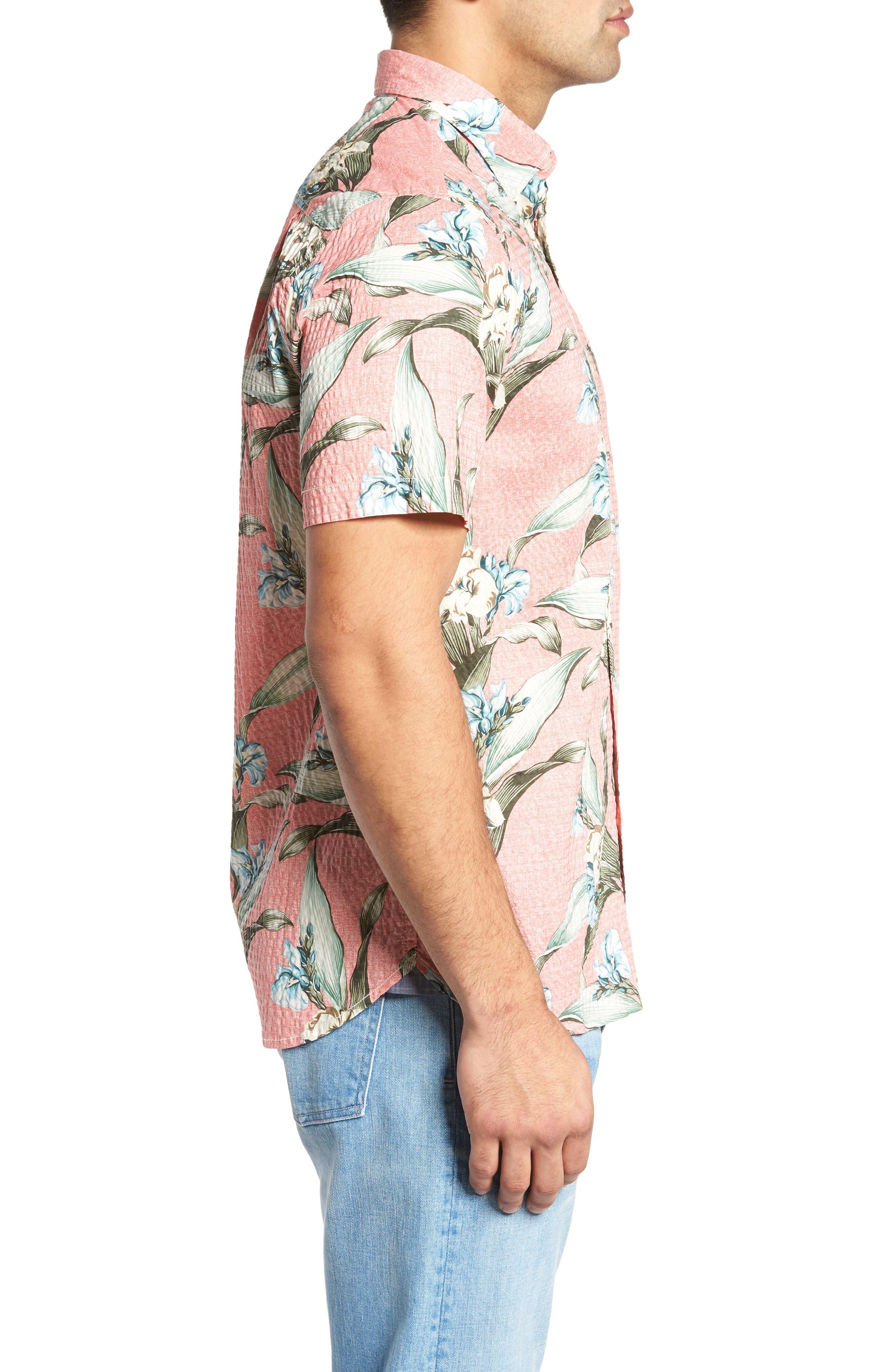 Cape Floral Seersucker Sport Shirt,                             Alternate thumbnail 3, color,
