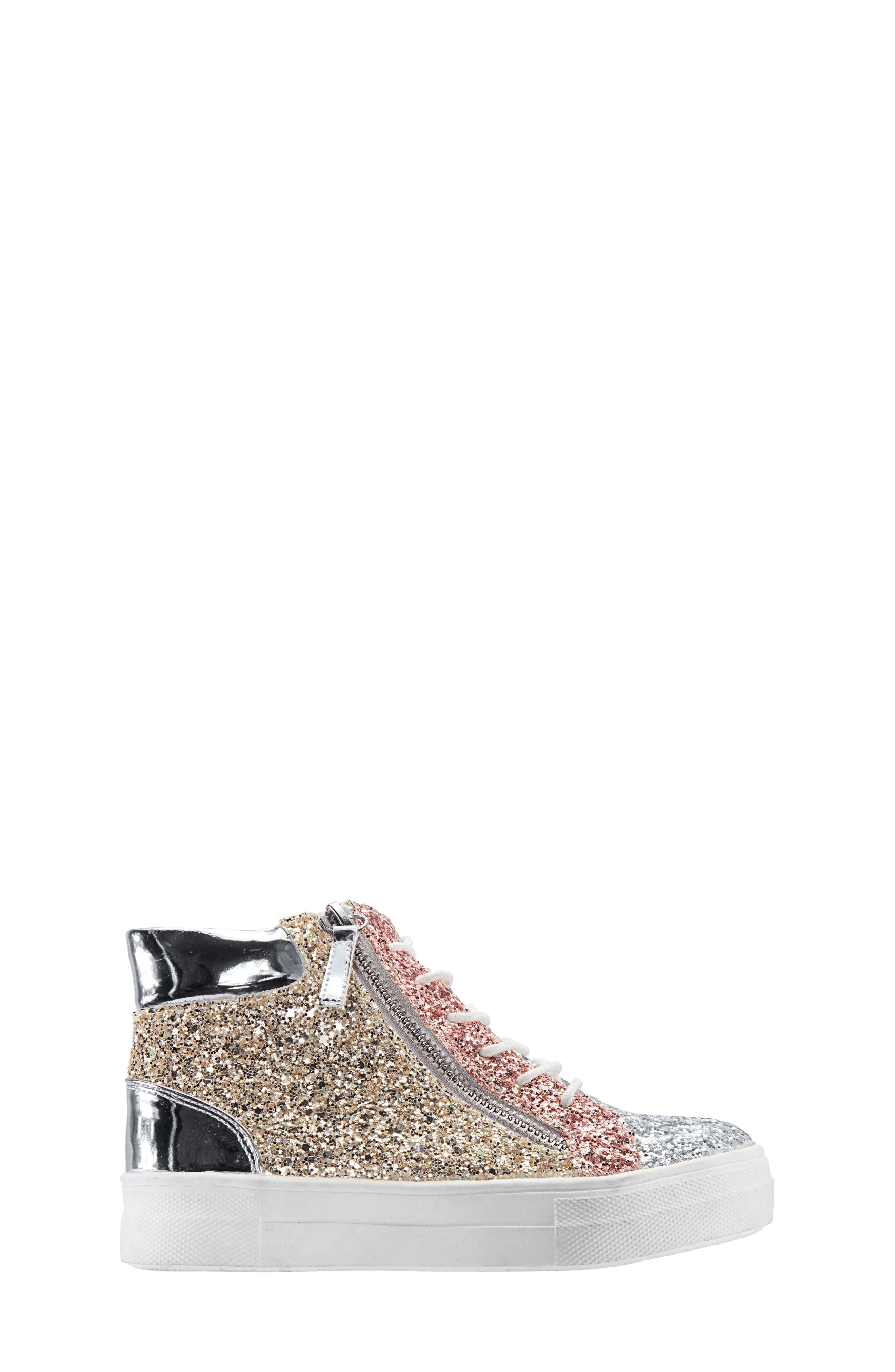 Hylda Glitter High Top Sneaker,                             Alternate thumbnail 3, color,                             SILVER MULTI GLITTER/ PATENT