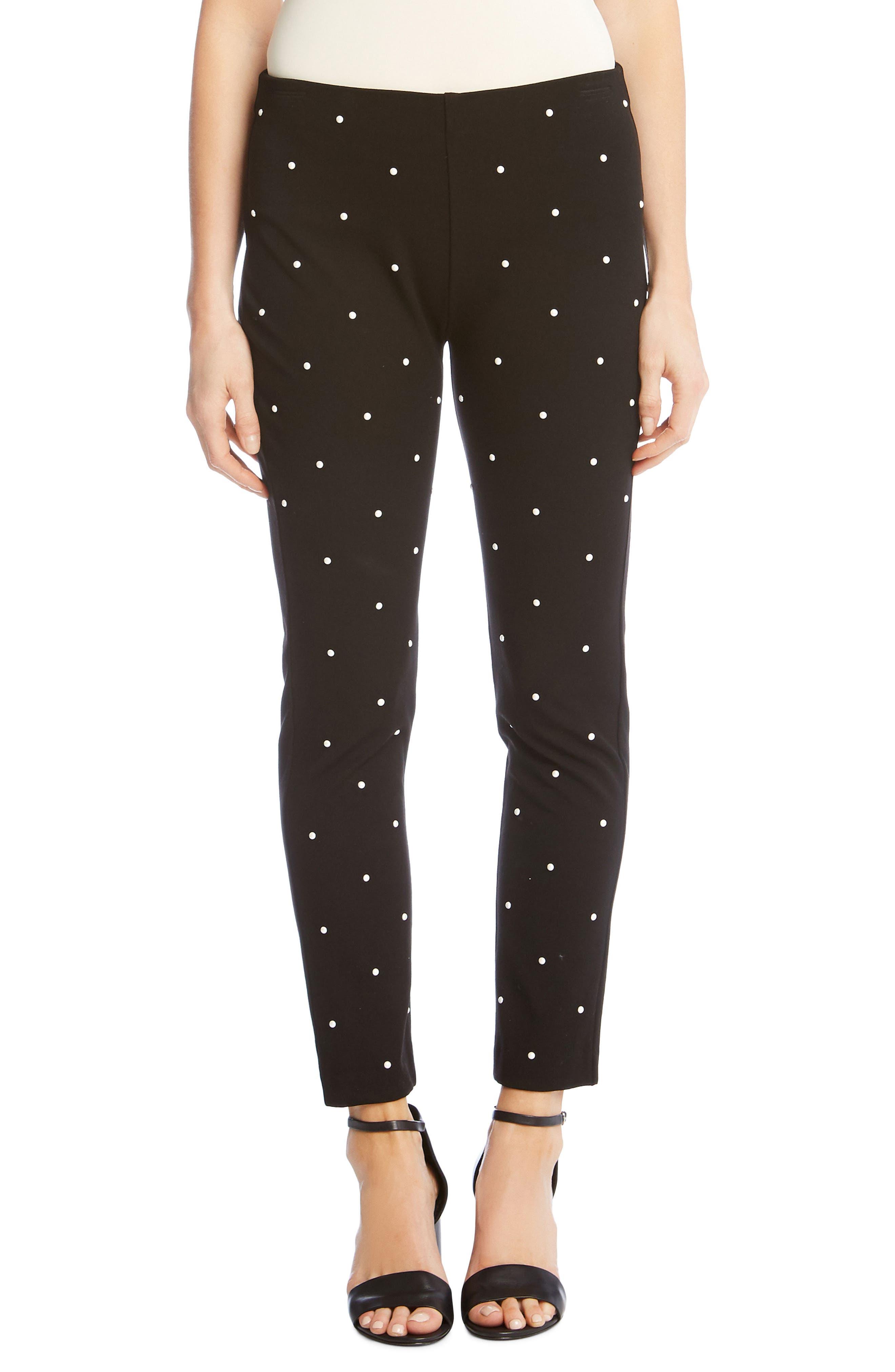Piper Embellished Ankle Skinny Pants,                         Main,                         color, BLACK