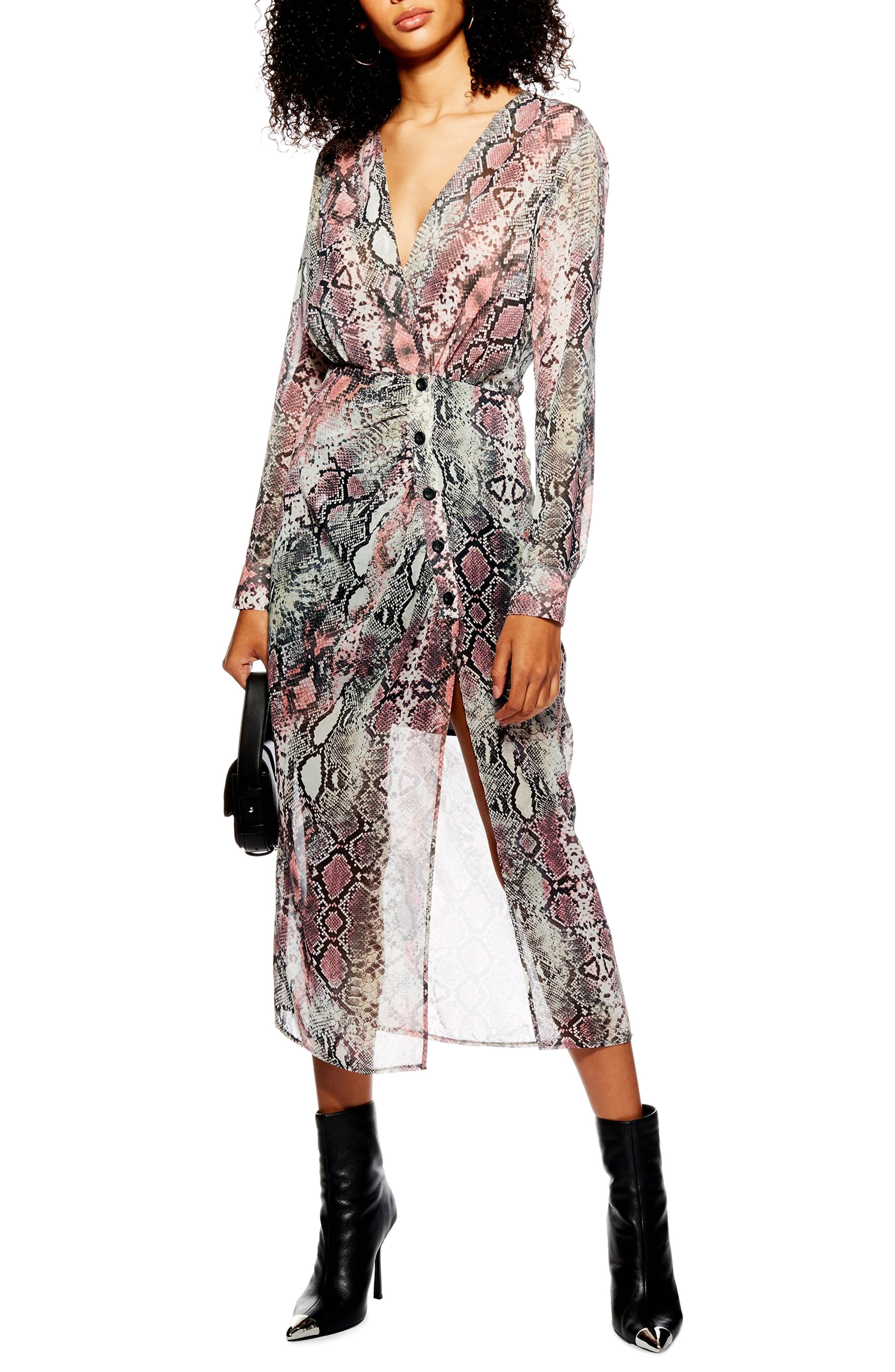 TOPSHOP Snake Print Chiffon Midi Dress, Main, color, PINK