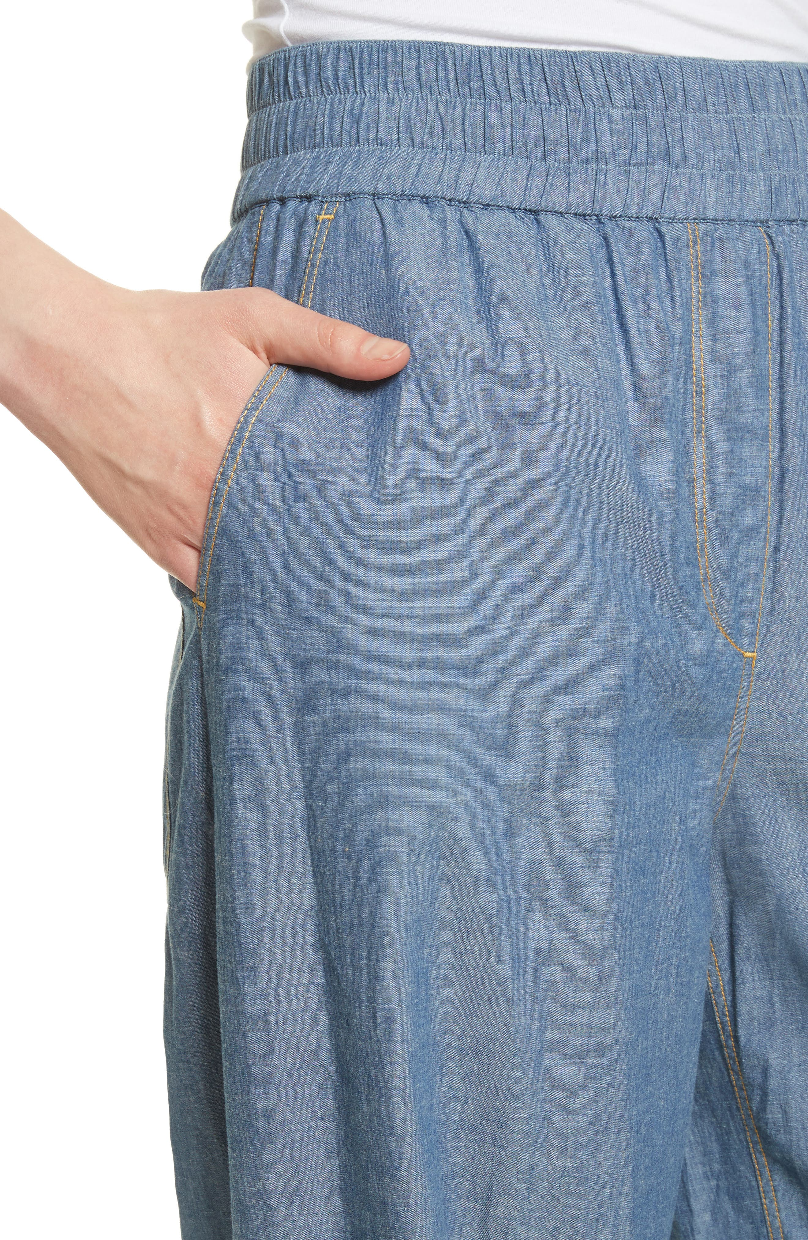 Anika Wide Leg Chambray Pants,                             Alternate thumbnail 4, color,