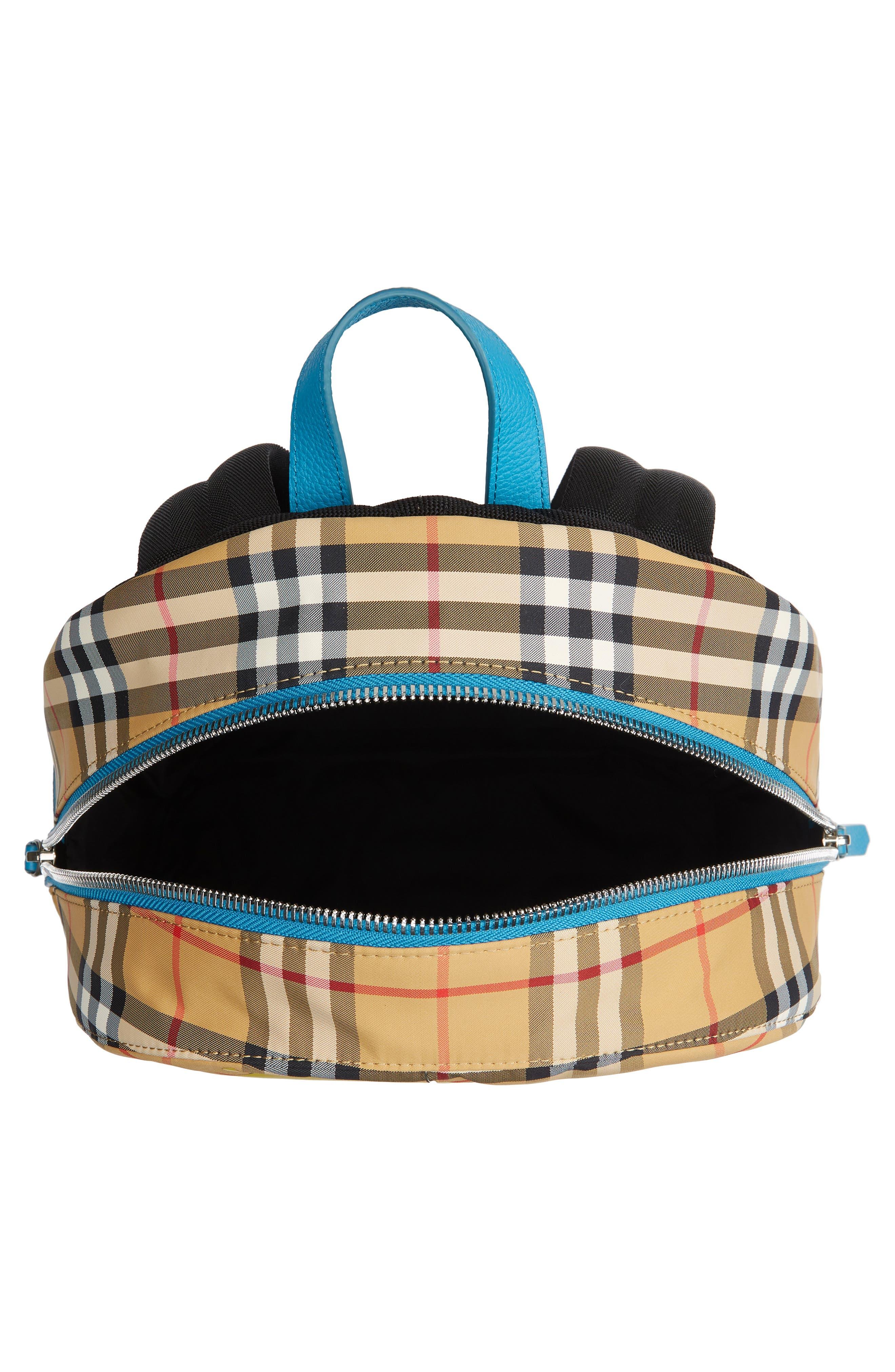 BURBERRY,                             Nico Sun Check Nylon Backpack,                             Alternate thumbnail 4, color,                             ANTIQUE YELLW IP CHK