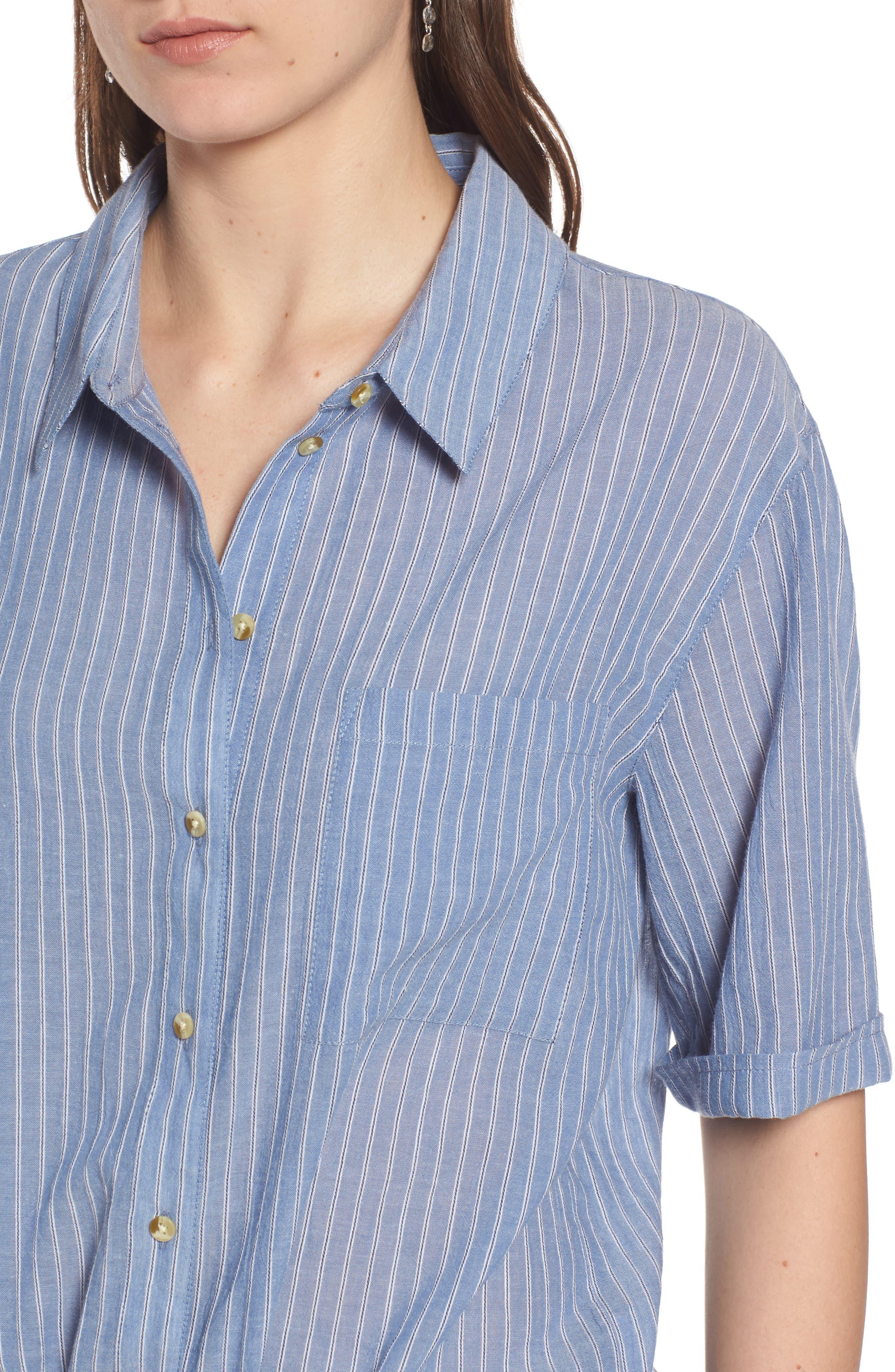 Stripe Button Front Shirt,                             Alternate thumbnail 4, color,                             BLUE AIRY STRIPE