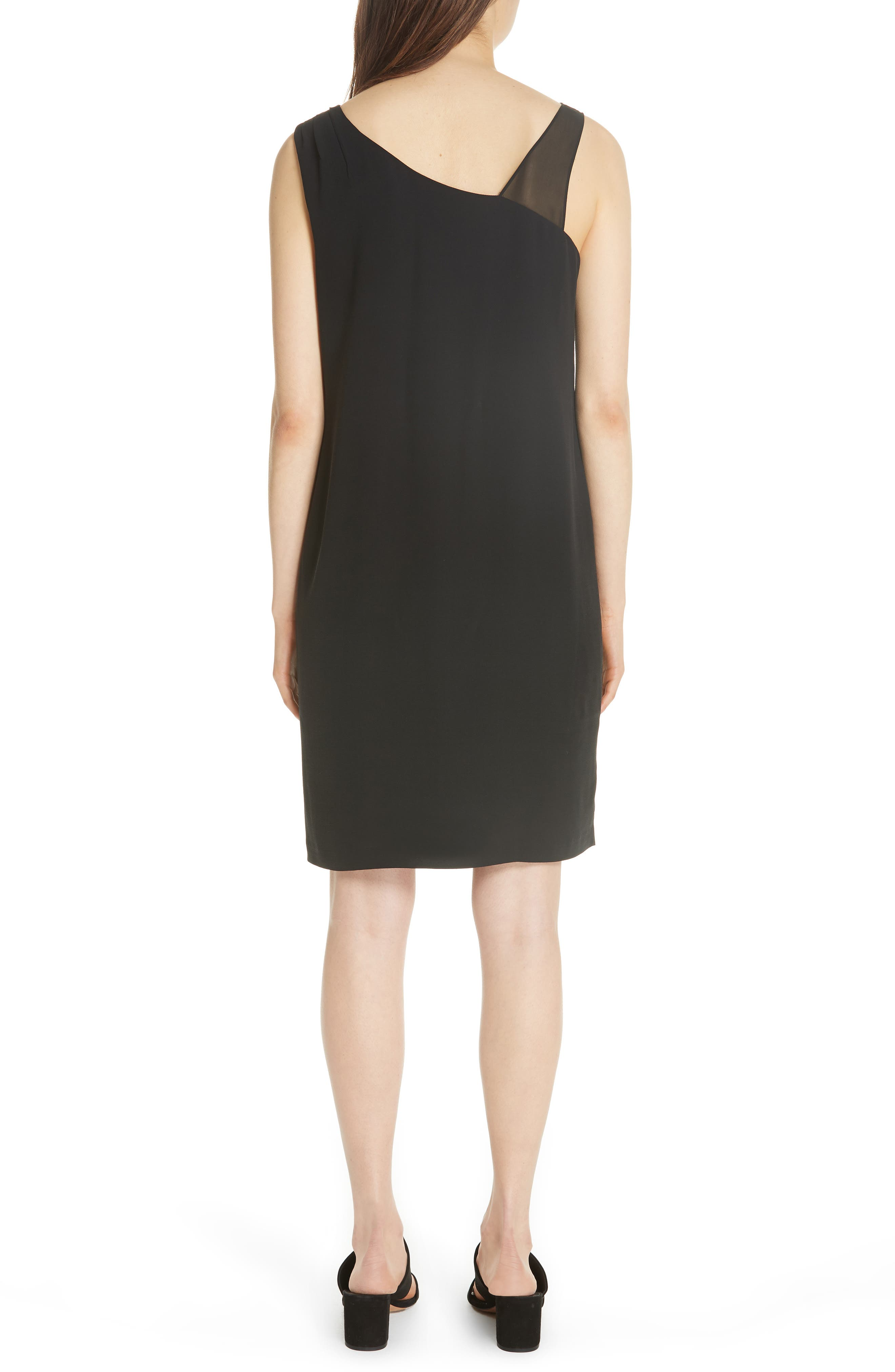 Sheer Strap Silk Shift Dress,                             Alternate thumbnail 2, color,                             001